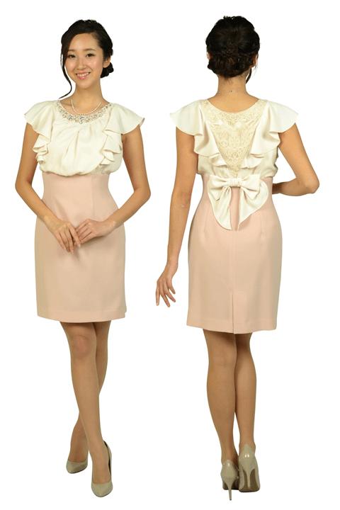 アプワイザー・リッシェ (Apuweiser-riche)ビジュフリルタイトピンクドレス