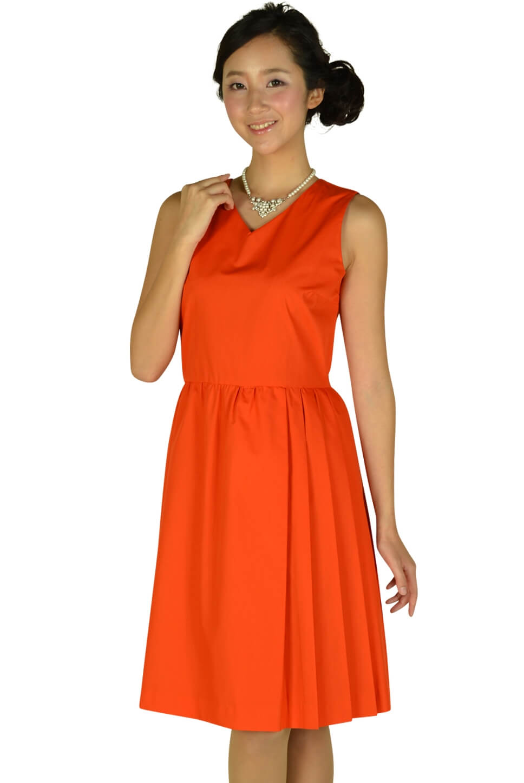 デミルクス ビームス(Demi-Luxe BEAMS)Vネックブライトオレンジドレス