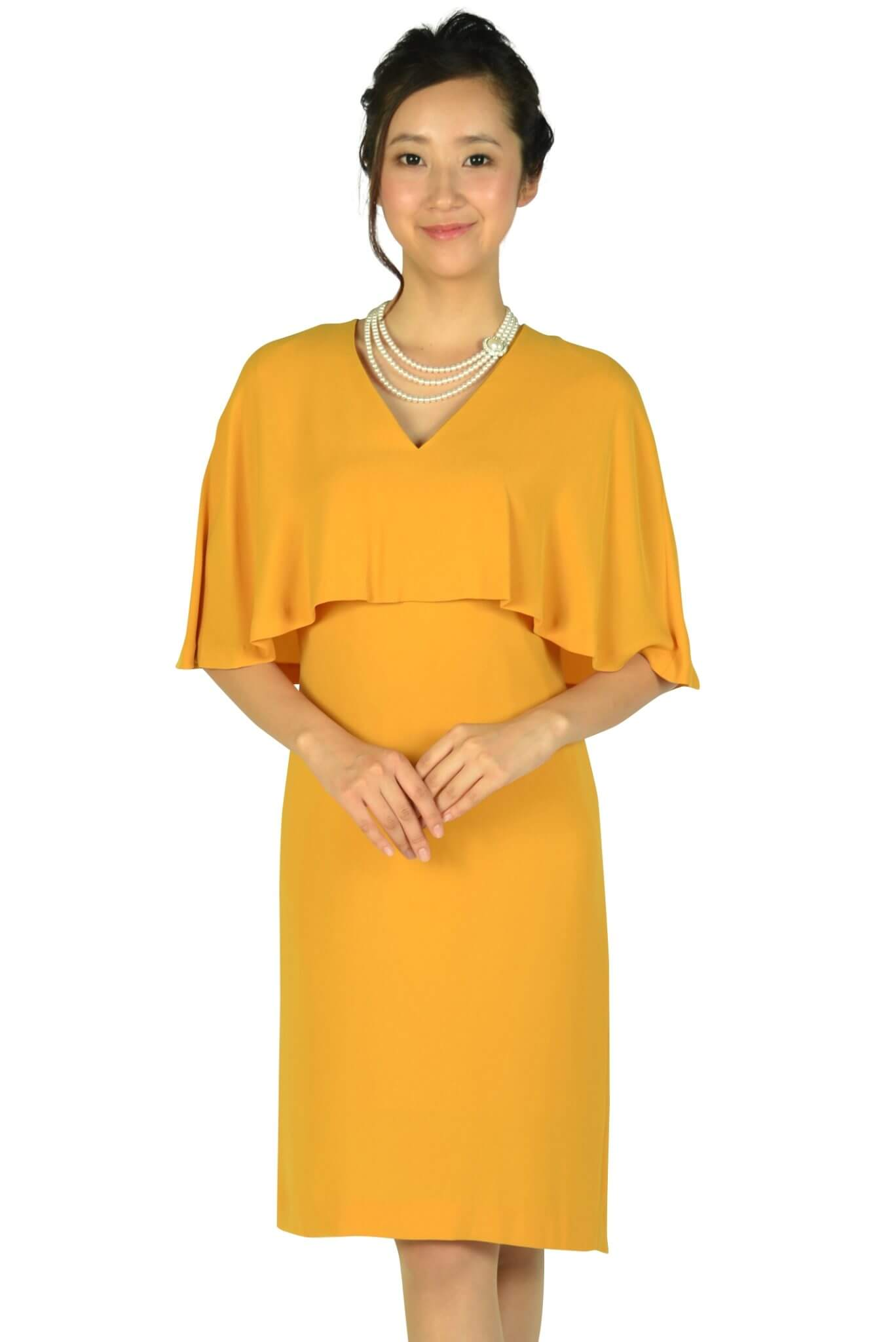ユナイテッドアローズ(UNITED ARROWS)ケープ袖Iラインマスタードドレス