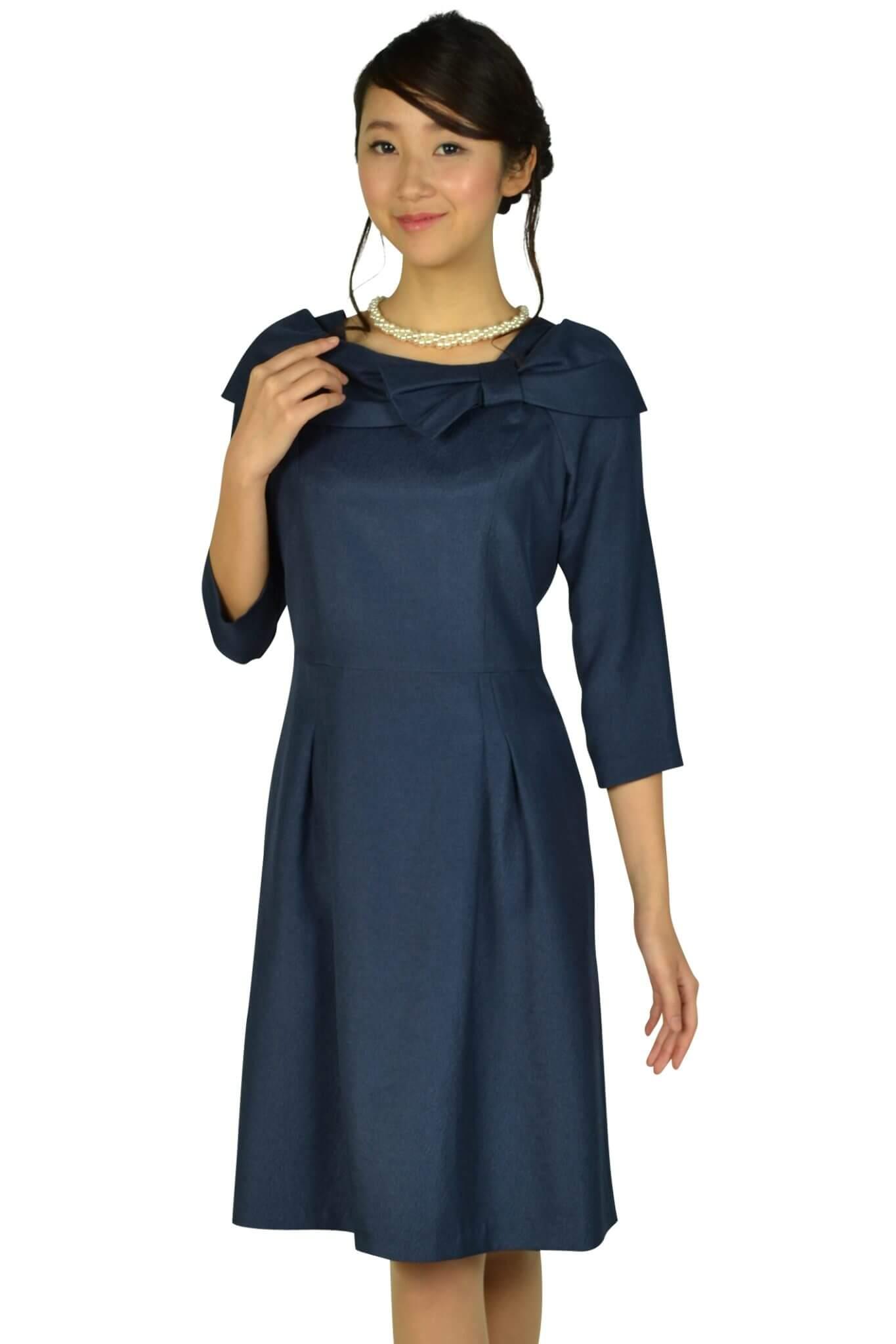 ドレス デコ (DRESS DECO)7分袖リボンネイビードレス