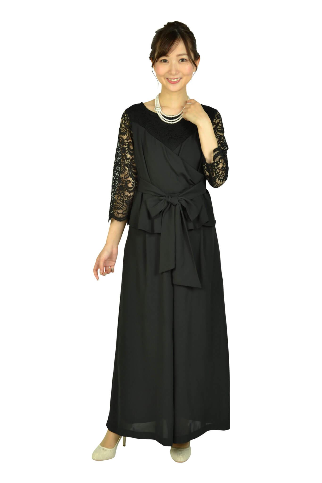 ルチェア (Luceat)袖レースカシュクールブラックパンツドレス