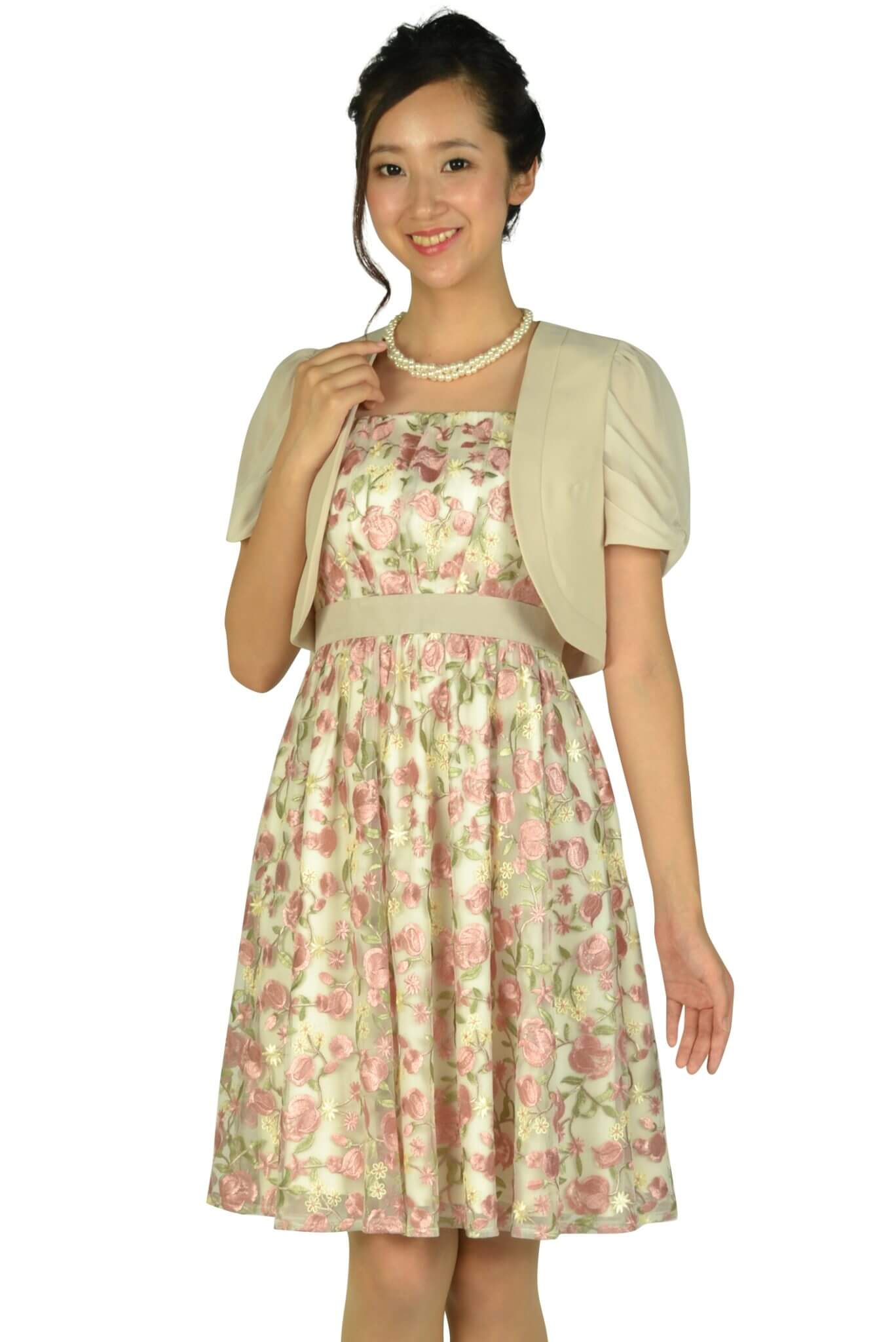 アプワイザー・リッシェ(Apuweiser-riche) フラワー総刺繍ピンクドレスセット