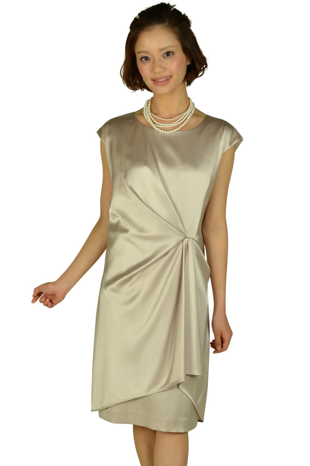 アンタイトル(UNTITLED) 光沢シャンパンミニ袖ドレス