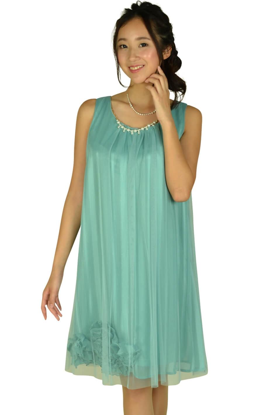 アシール(ASHILL) チュールストライプミントカラードレス