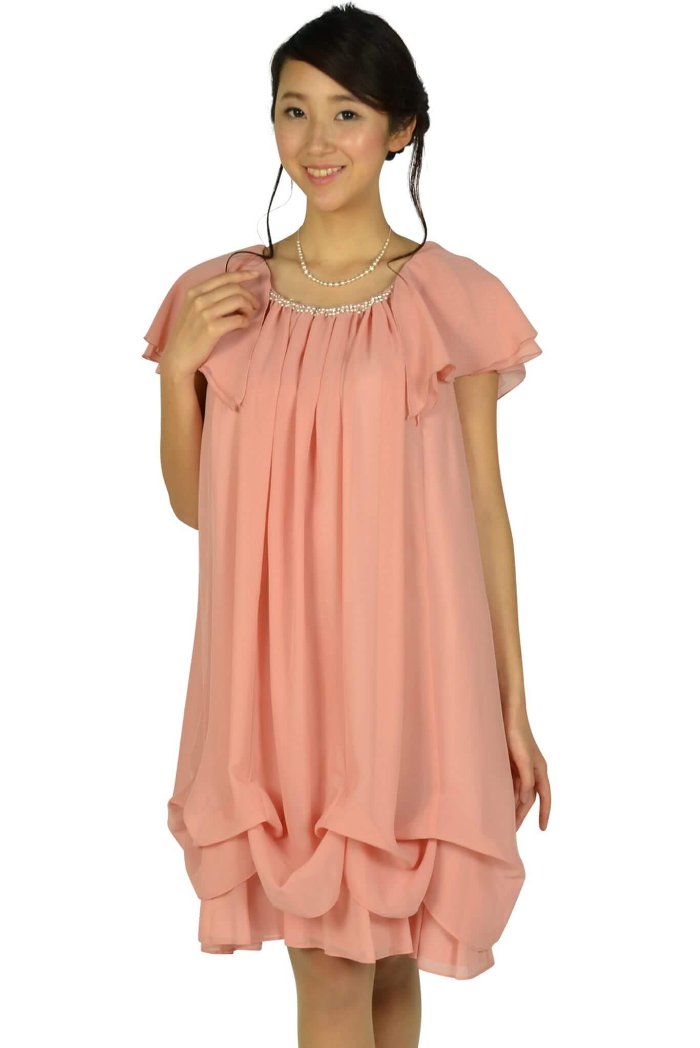 デリセノアール(DELLISE NOIR)ゆったりAラインピンクドレス