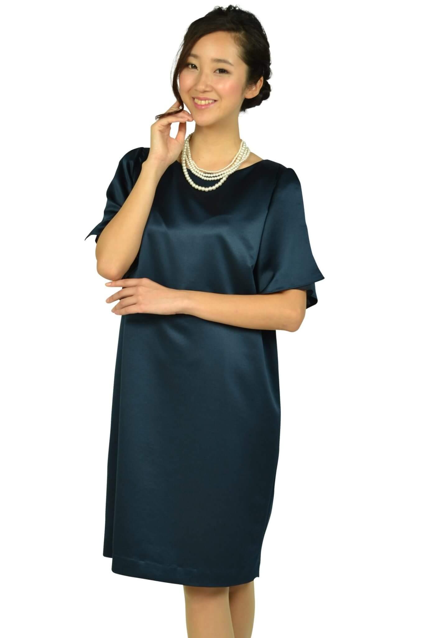 アンタイトル (UNTITLED)光沢ネイビーゆったりドレス