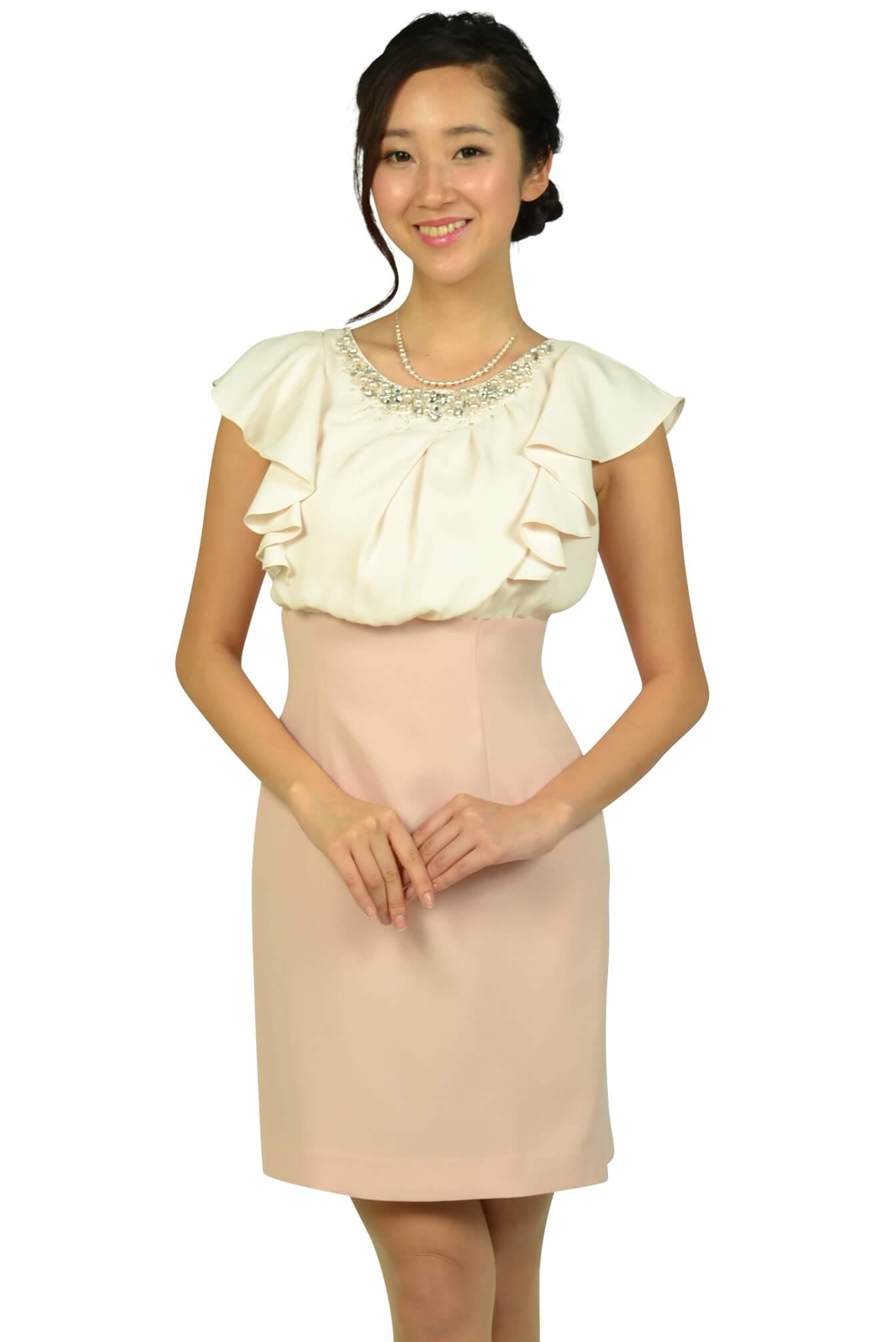 アプワイザー・リッシェ(Apuweiser-riche) ビジュフリルタイトピンクドレス