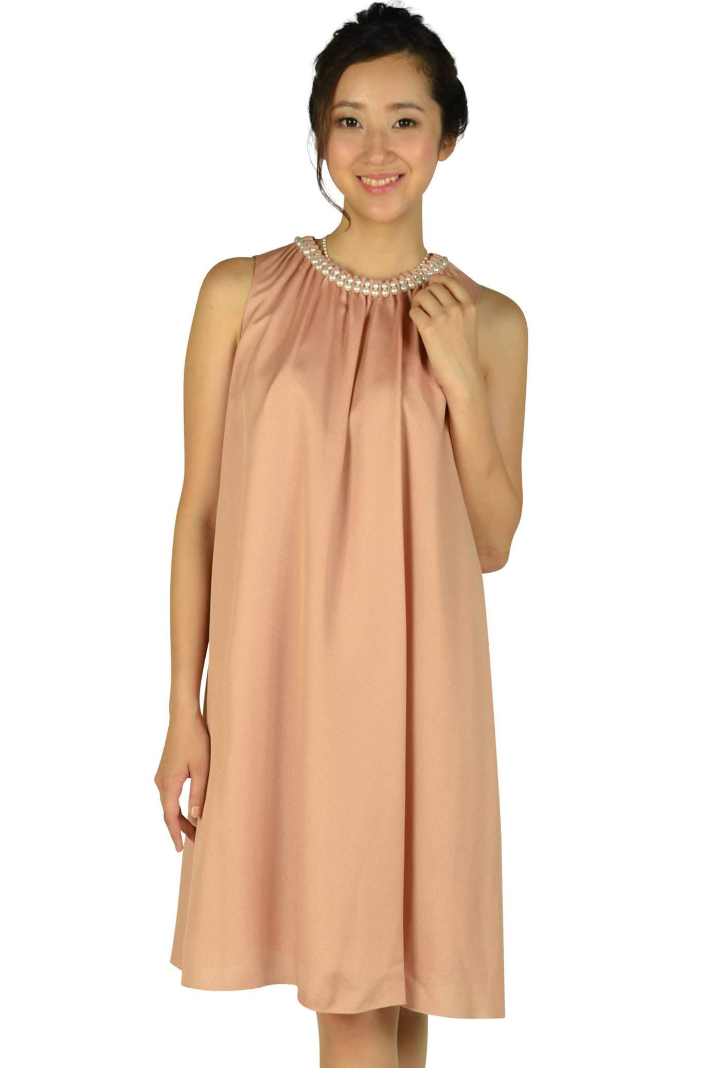 ストロベリーフィールズ(STRAWBERRY-FIELDS)パールビジュゴールドオレンジドレス