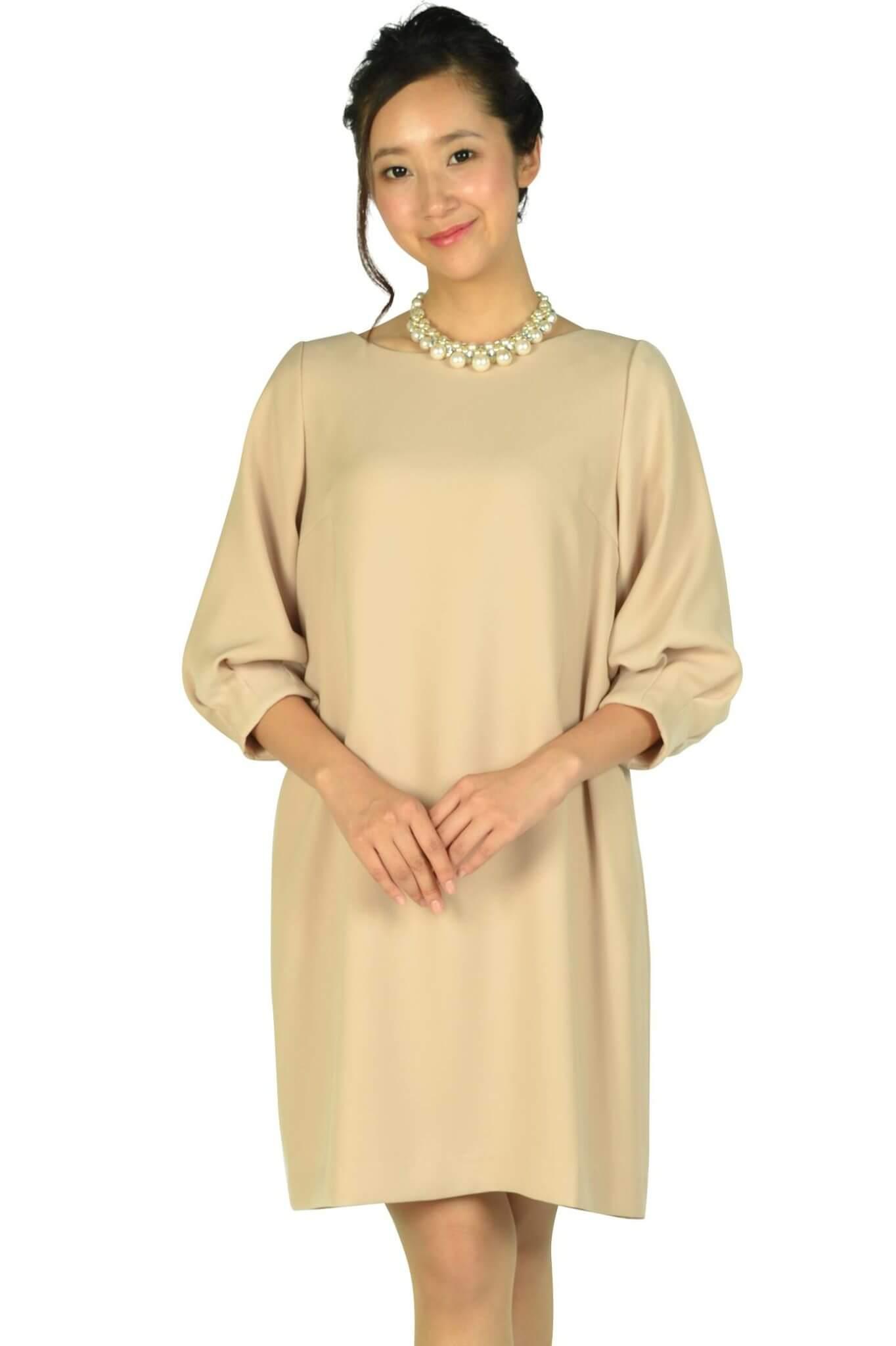 アナトリエ(anatelier)Iライン袖付きピンクベージュドレス
