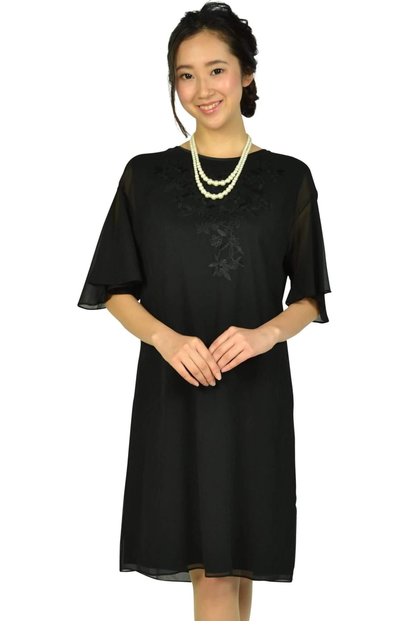 アマカ(AMACA)フレア袖花柄刺繍ブラックドレス