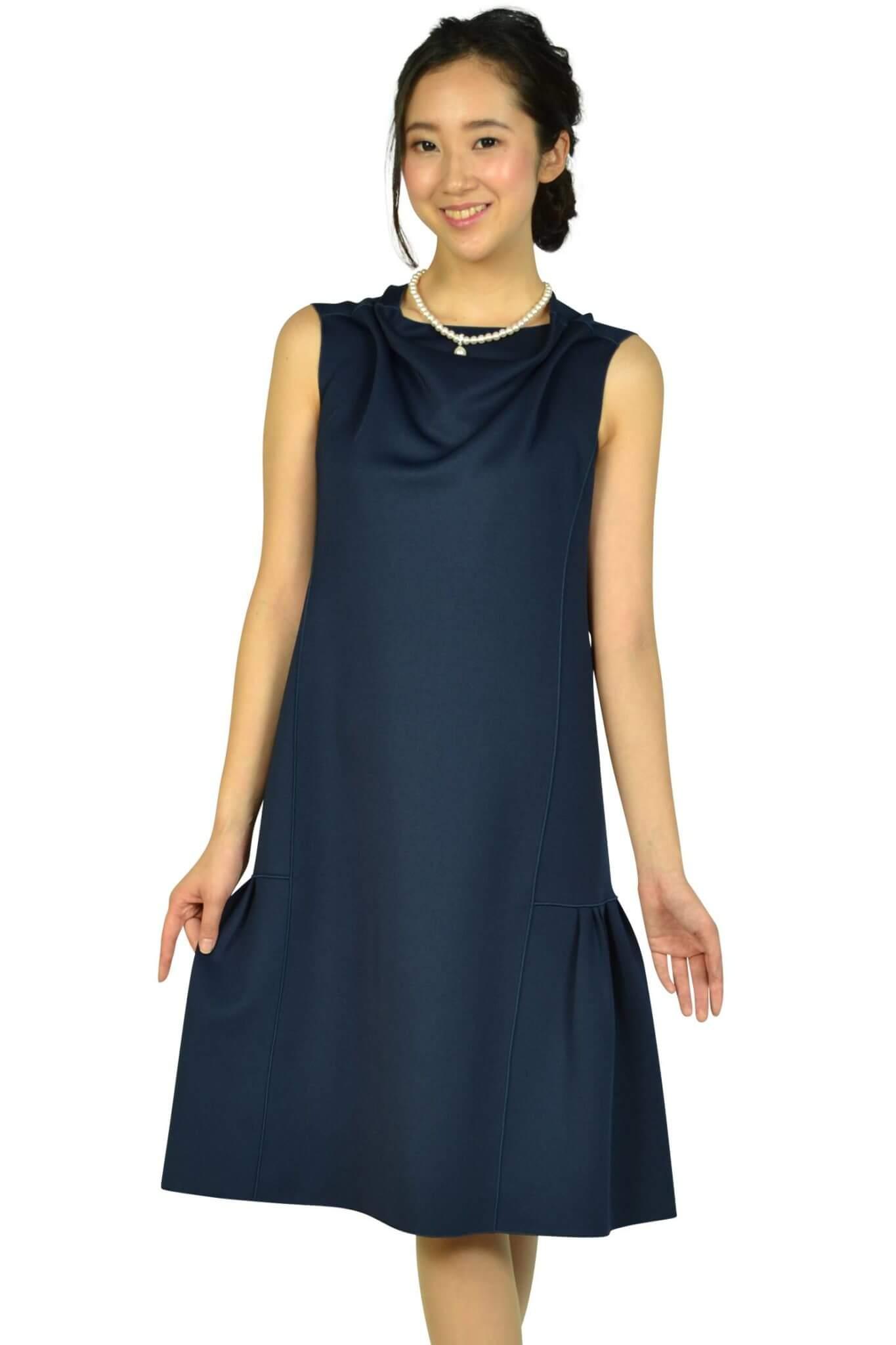 エンポリオ アルマーニ(EMPORIO ARMANI)ドレープ&タックゆったりネイビードレス