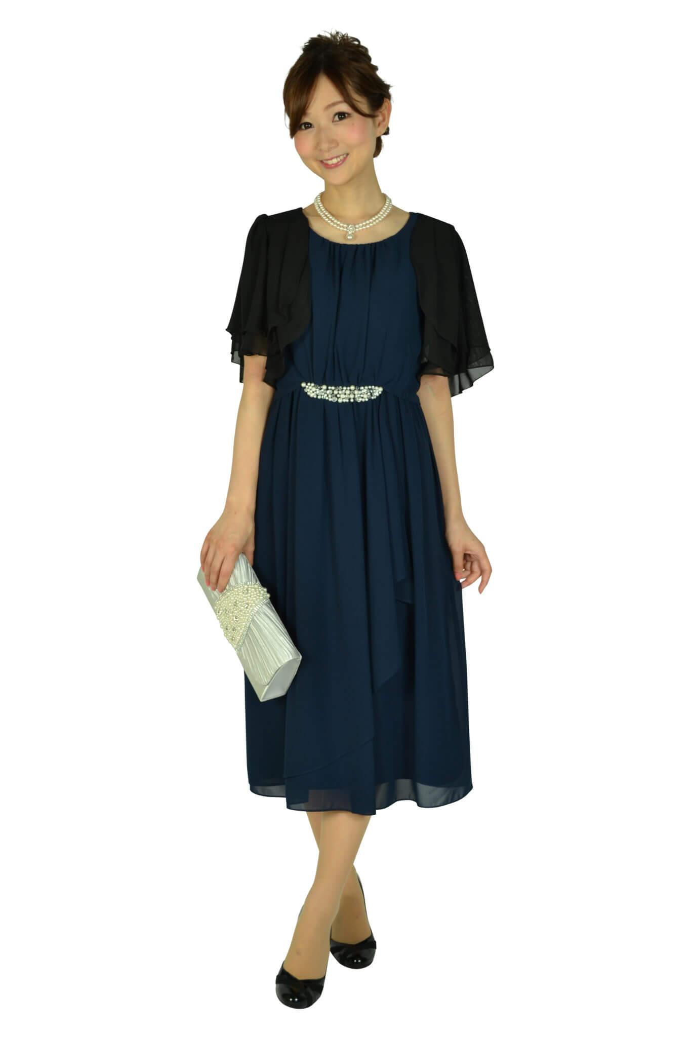 ミベル ミューズ (mebelle muse)ウェストパールネイビードレス