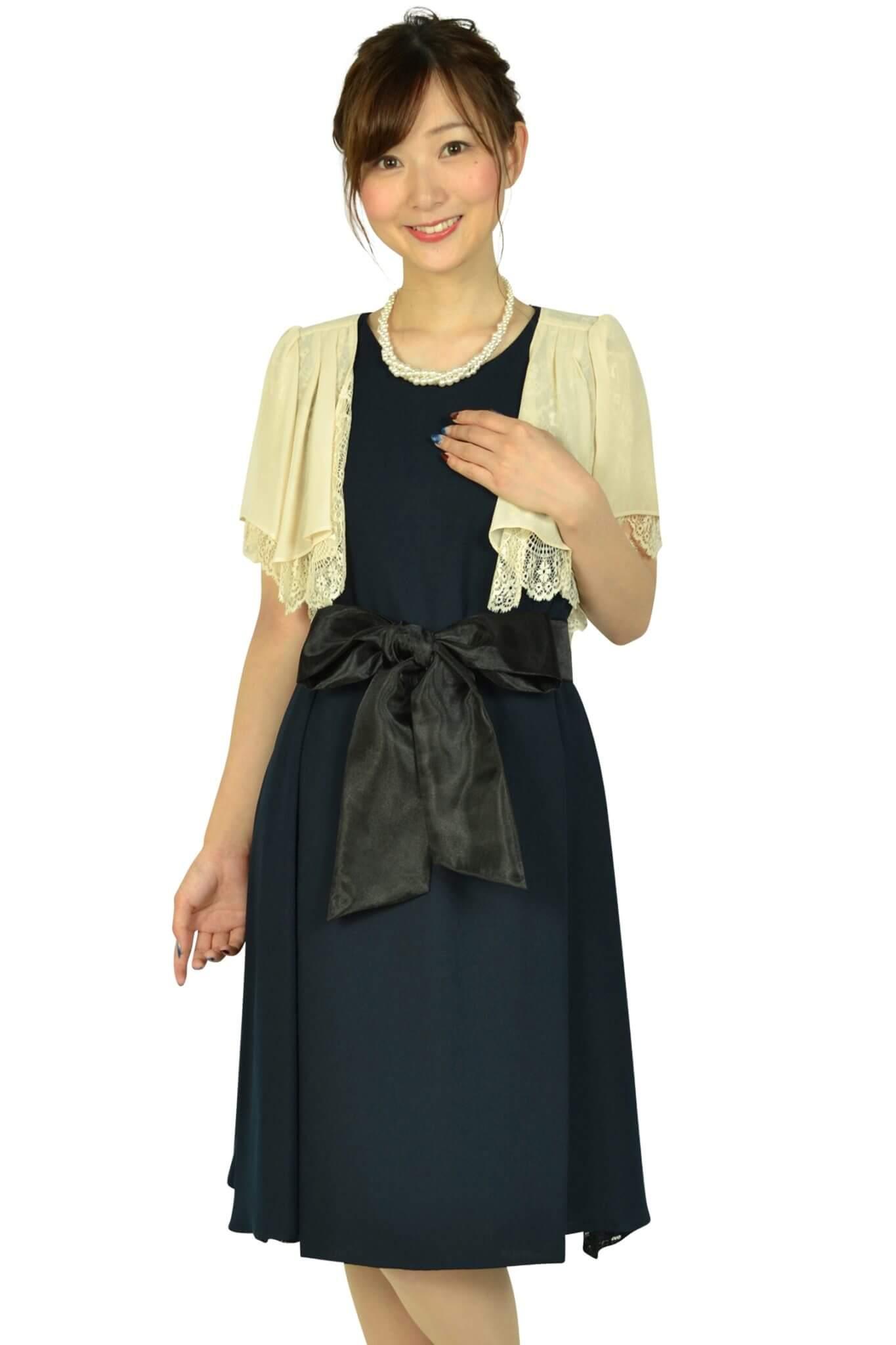 ビヲミナ (VIWOMINA)【授乳OK】ゆったりサイドレースネイビードレスセット