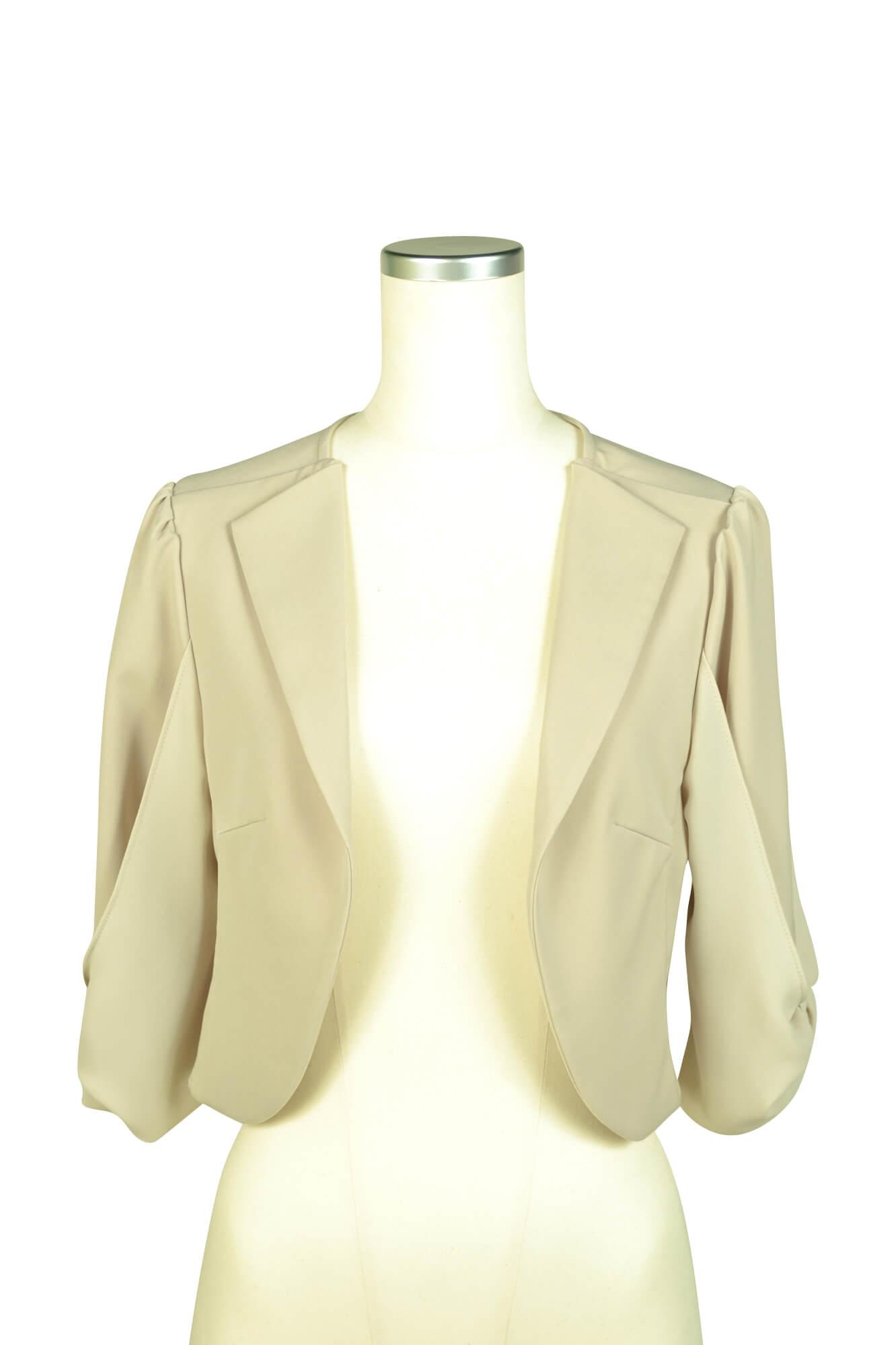 ミベル ミューズ (mebelle muse)袖リボン5分袖ベージュジャケット