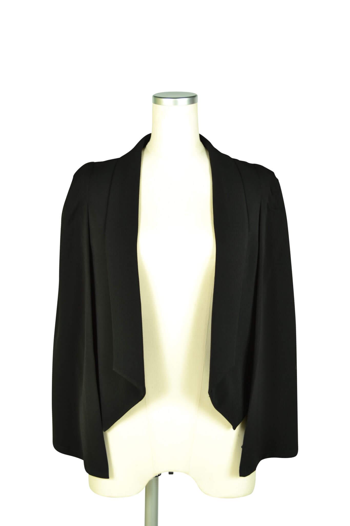 エルモソ リュクス (Hermoso luxe)襟付きケープ袖ブラックジャケット