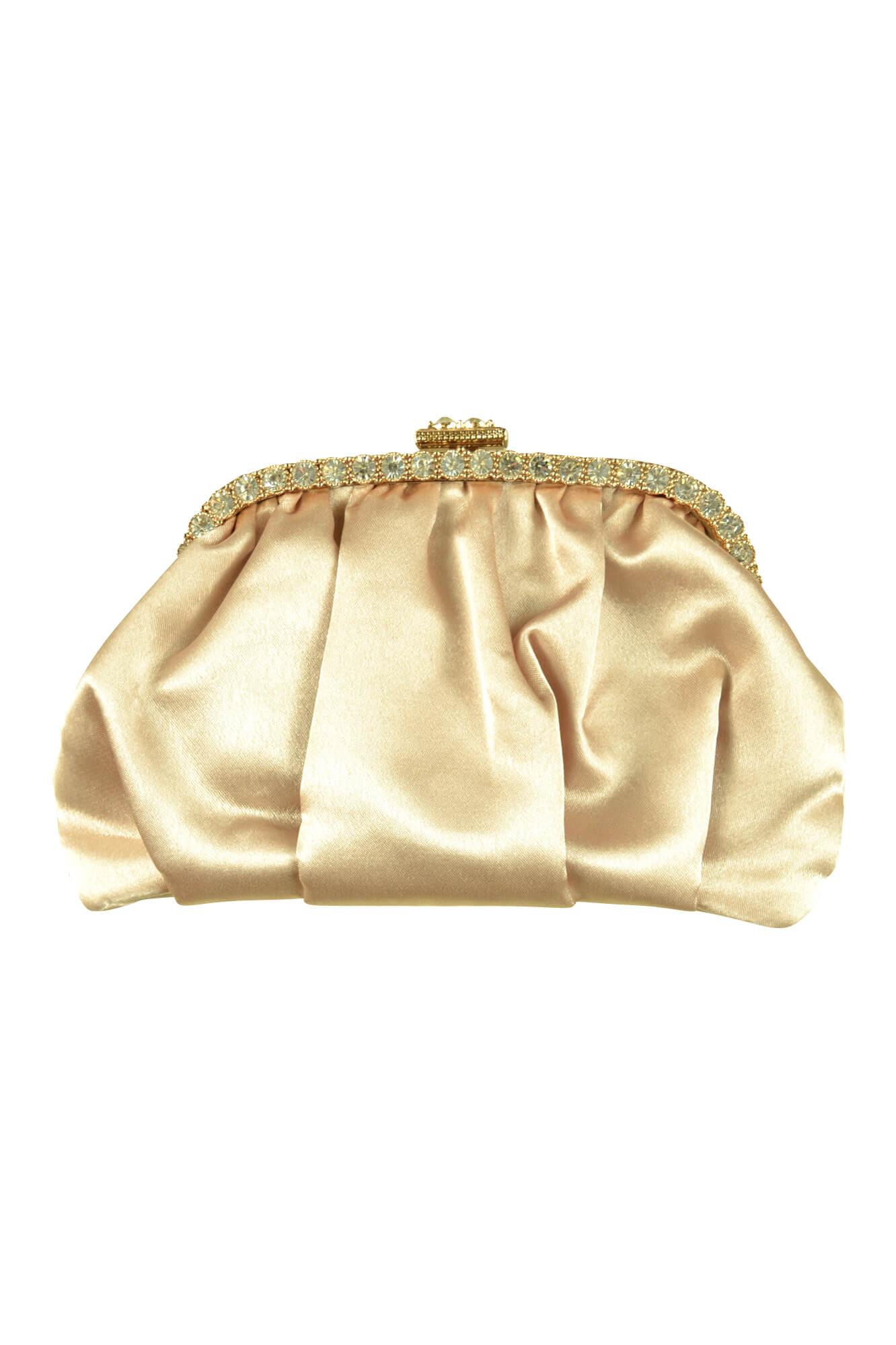 ジャスグリッティー (JUSGLITTY)ベージュシャンパンクリスタルバッグ