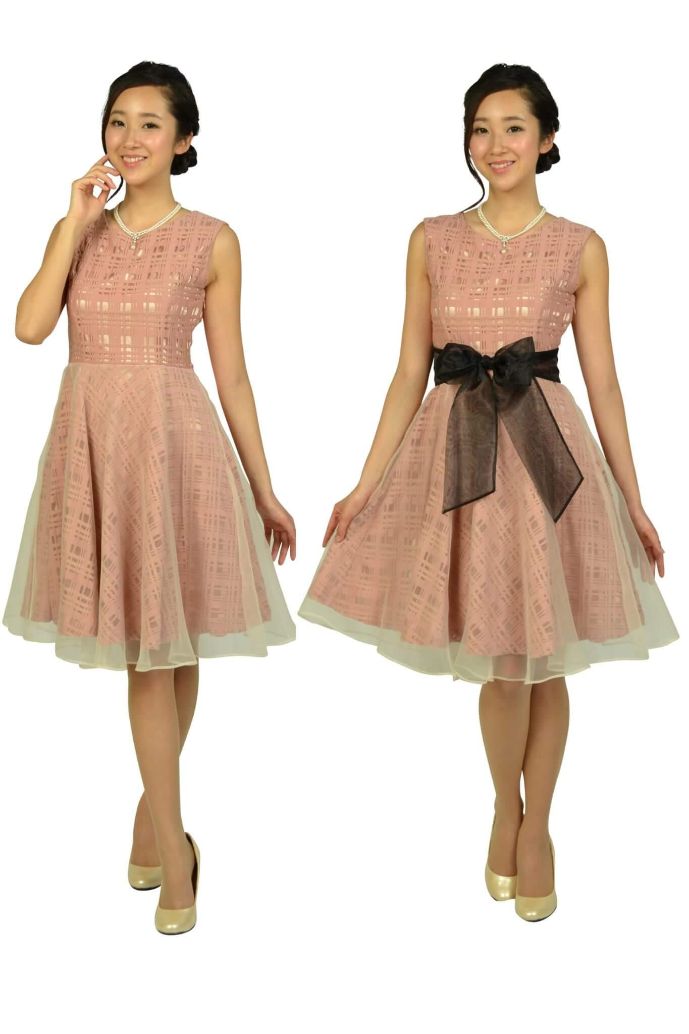 アナトリエ (anatelier)スモーキーピンクチェックドレス