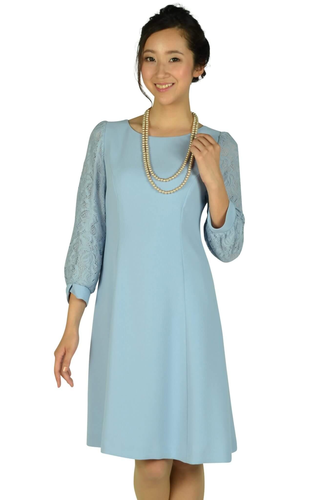ストロベリーフィールズ(STRAWBERRY-FIELDS) サックスブルーレース袖ドレス