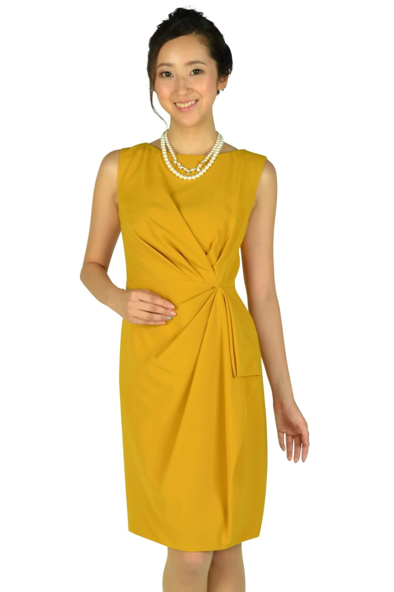 グレースコンチネンタル(GRACE CONTINENTAL) 大人タックマスタードドレス