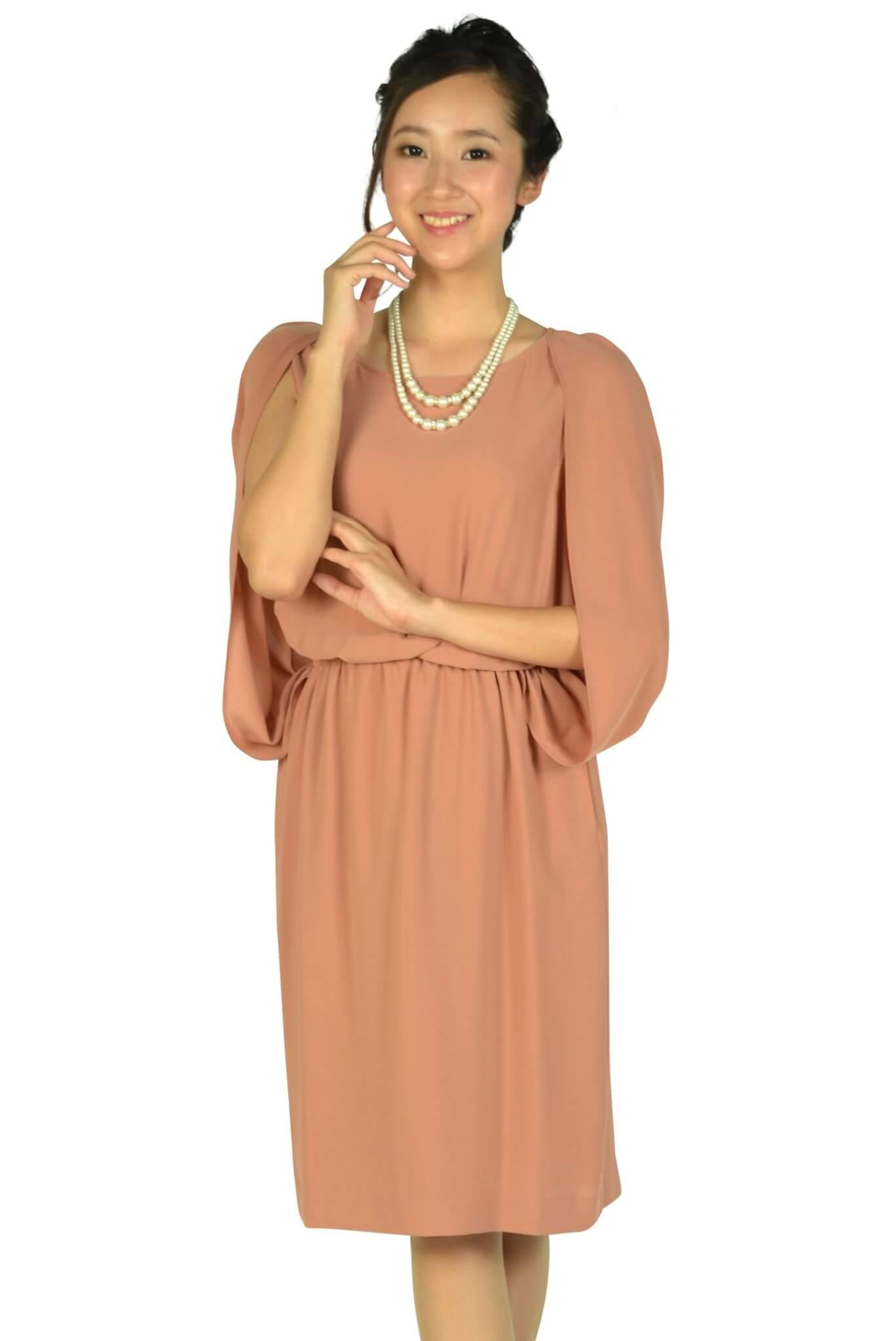 ユナイテッドアローズ (UNITED ARROWS)ケープ袖Iラインオレンジドレス