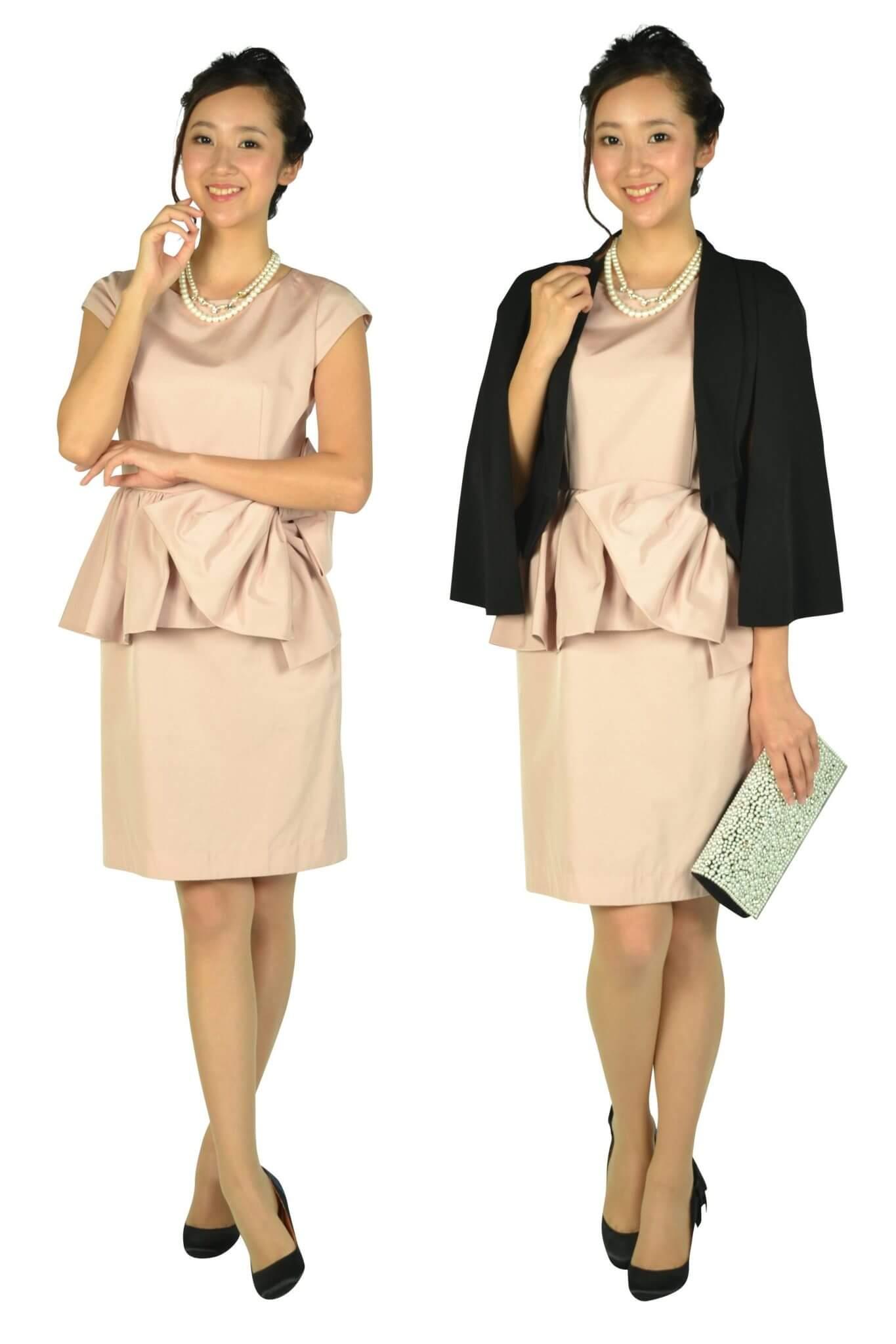 ジャスグリッティー(JUSGLITTY)ウェストフリル&リボンピンクドレス