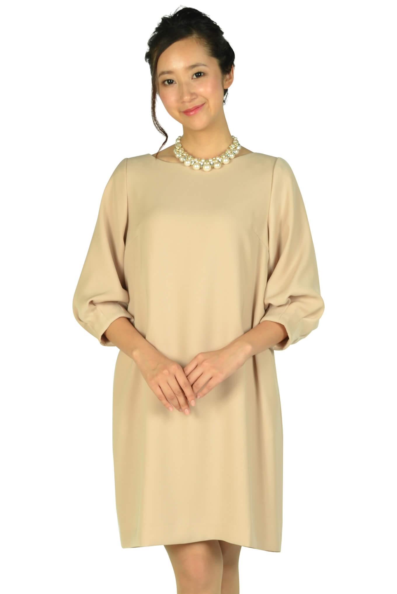 アナトリエ (anatelier)Iライン袖付きピンクベージュドレス