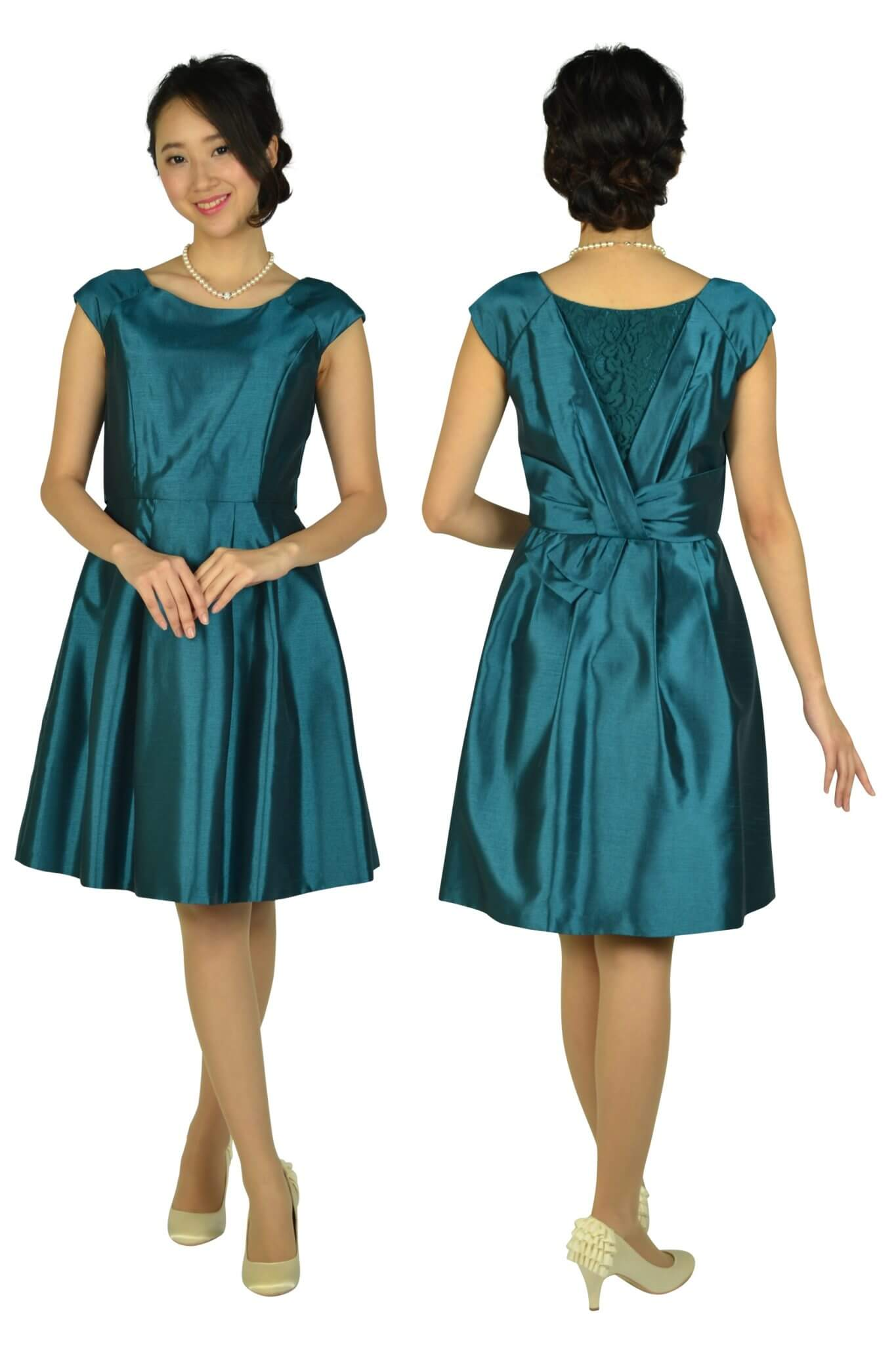 レッセパッセ (LAISSE PASSE)光沢シャンタングリーンドレス