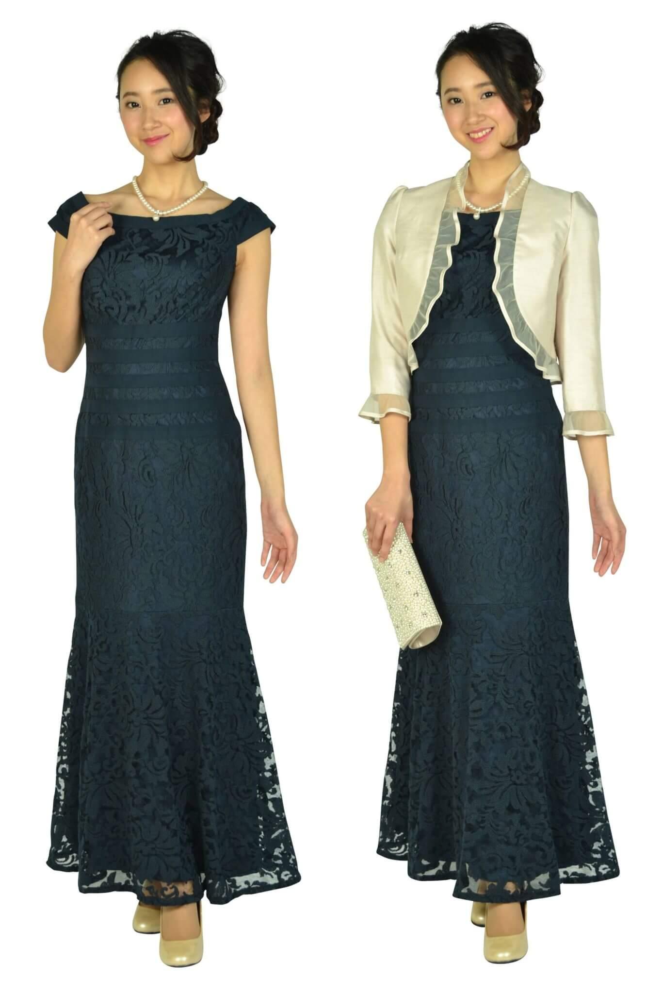 タダシ・ショージ(Tadashi Shoji)マーメイドラインロングネイビードレス