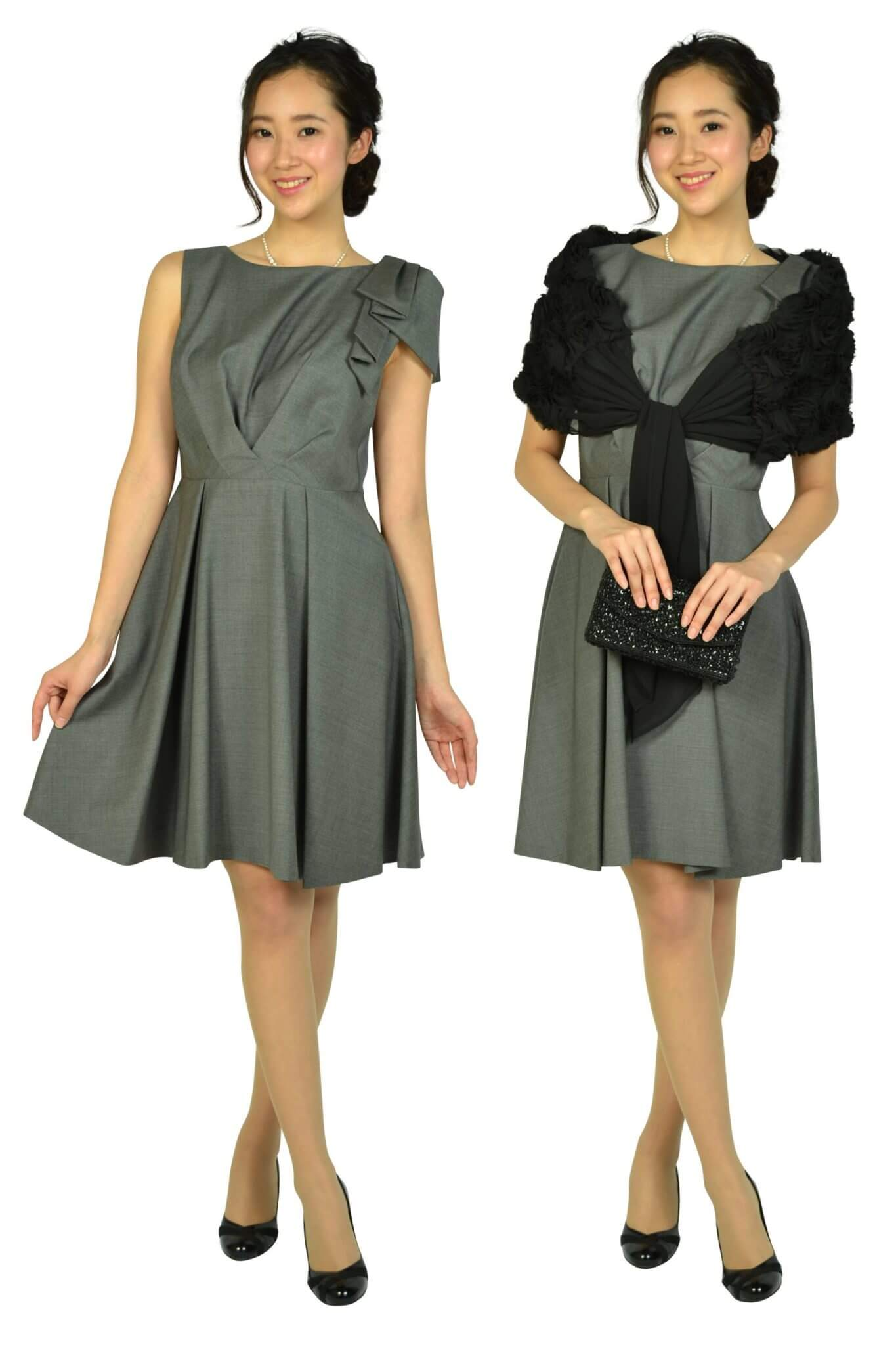 ランバンオンブルー(LANVIN en Bleu) ワンポイントグレータックドレス