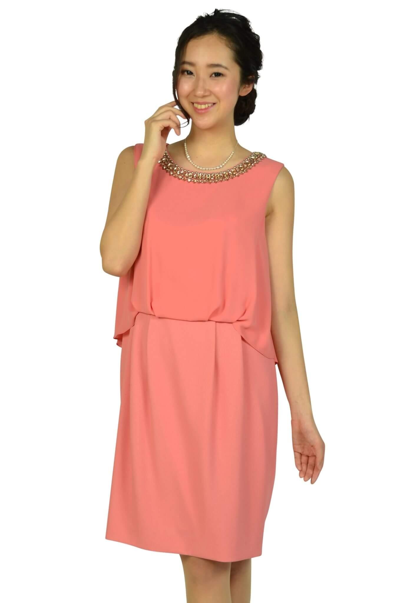 インディヴィ(INDIVI) シンプルビジュコーラルオレンジドレス