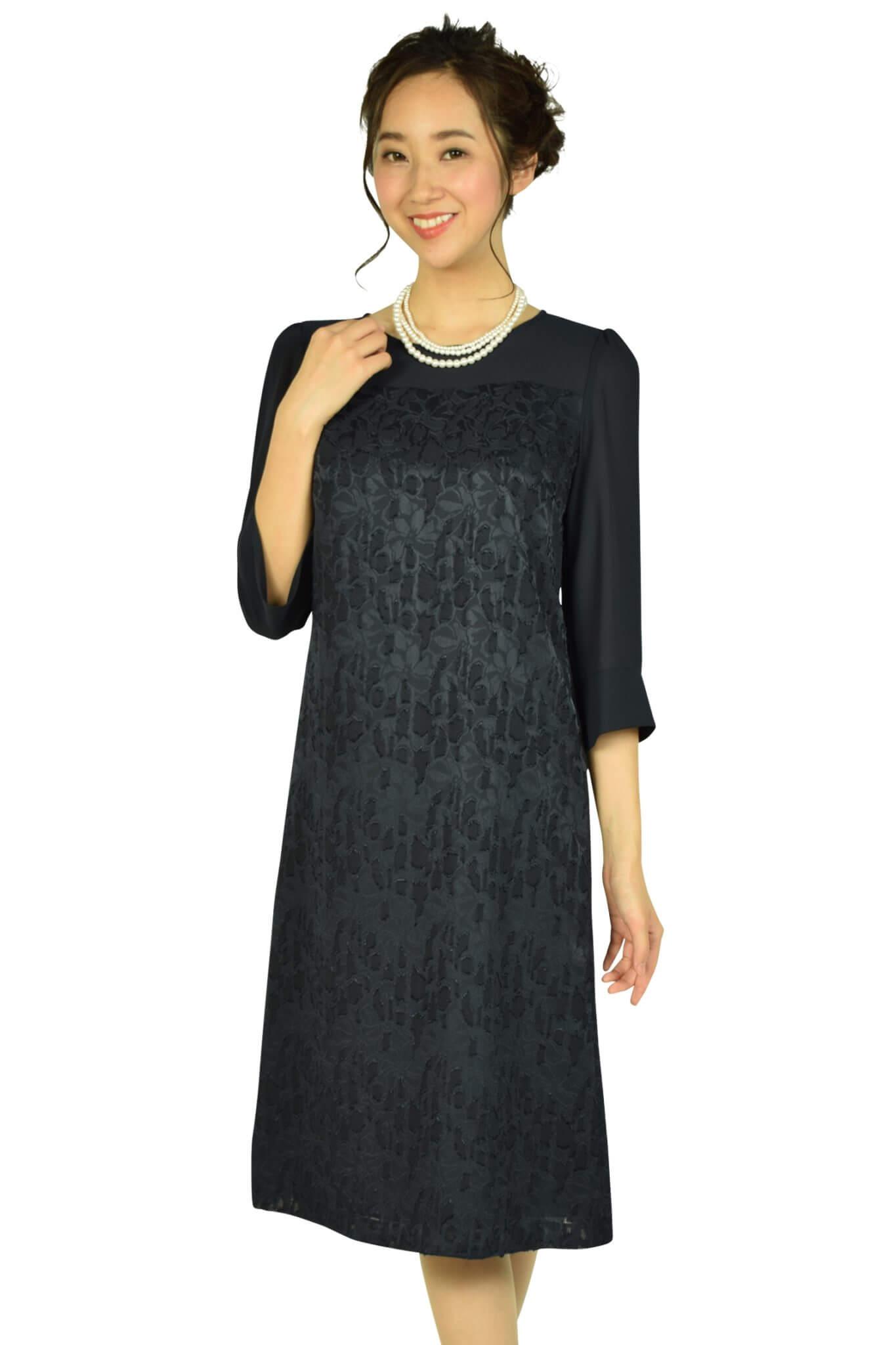 ドレス デコ(DRESS DECO)上品フロッキーフラワーネイビードレス