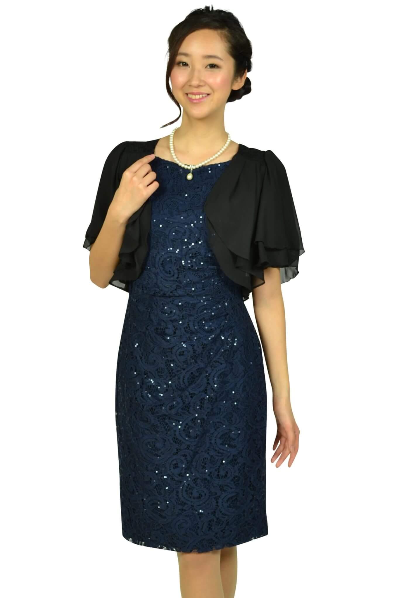 ローレンラルフローレン (LAUREN RALPH LAUREN)レーススパンコールネイビードレス