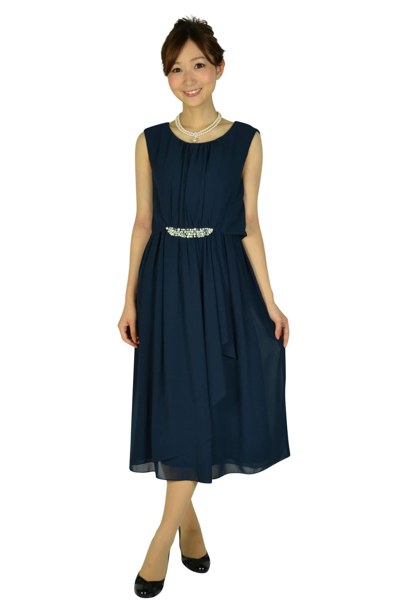 ミベル ミューズ(mebelle muse) ウェストパールネイビードレス