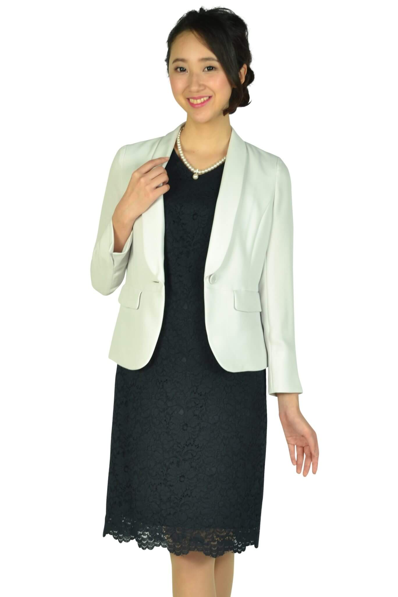 ホワイト ジョーラ (White Joola)シンプルレースVネック濃紺ドレスセット