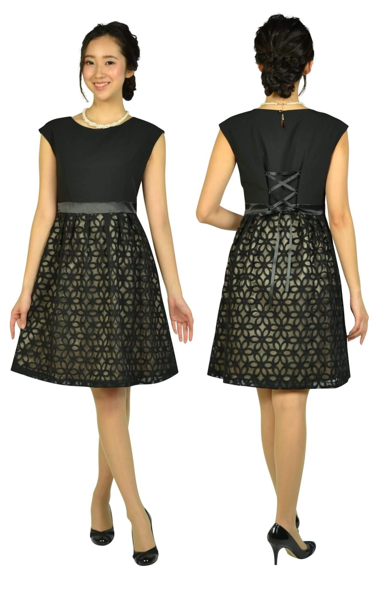 エニィスィス (anySiS)オーガンジーフラワーブラックドレス