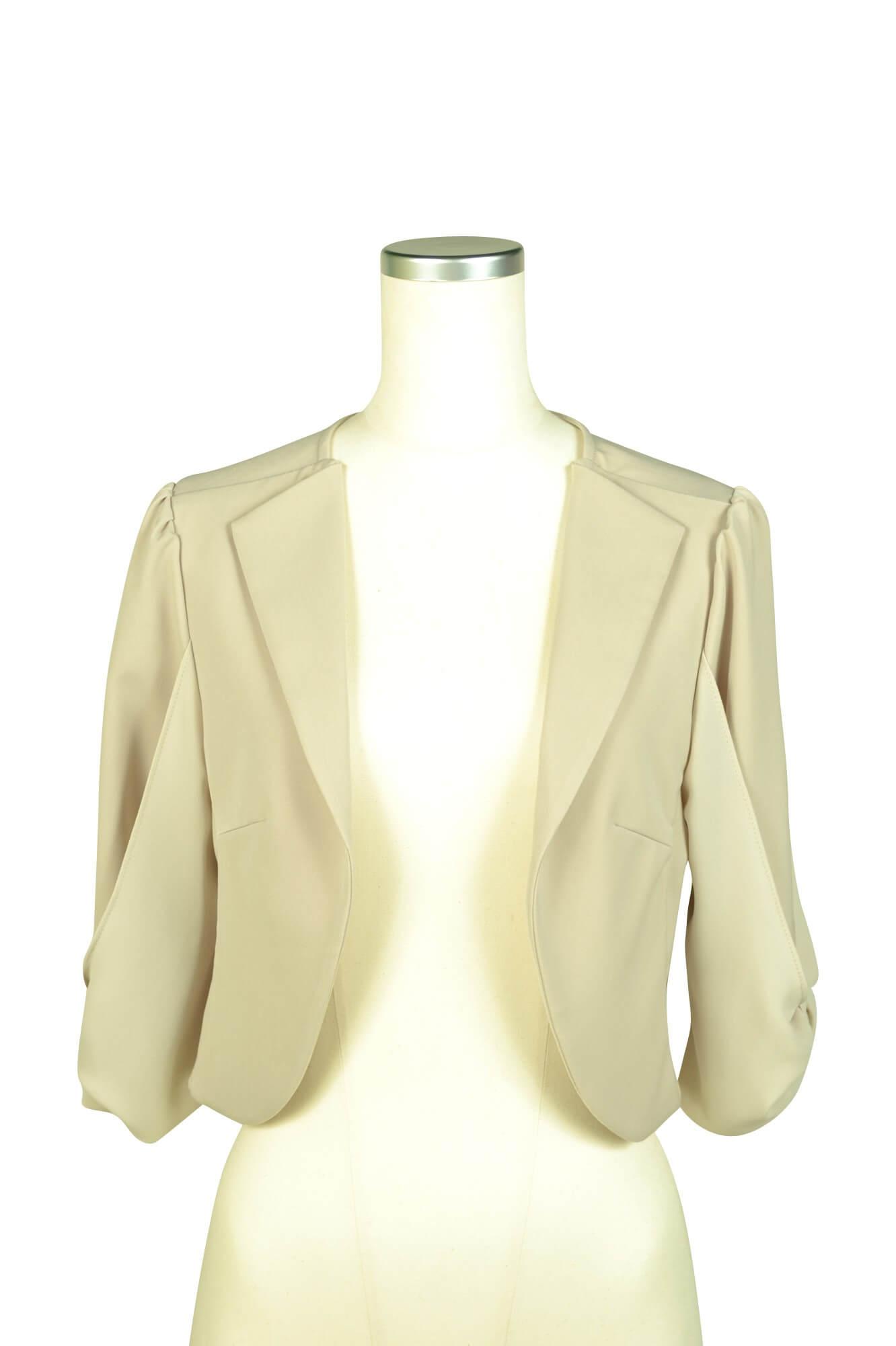 ミベル ミューズ(mebelle muse) 袖リボン5分袖ベージュジャケット