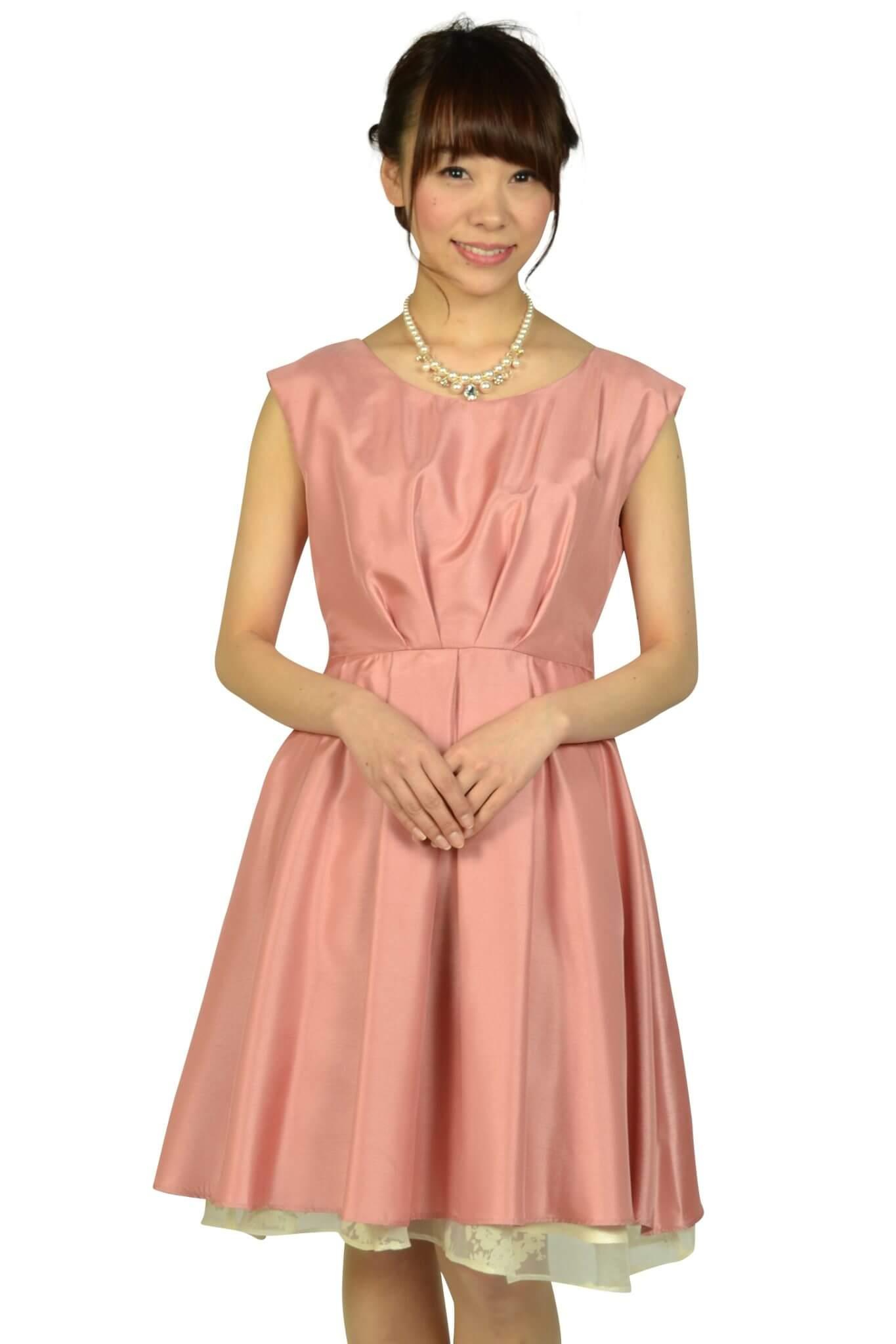 タック\u0026フラワーオーガンジーピンクドレス