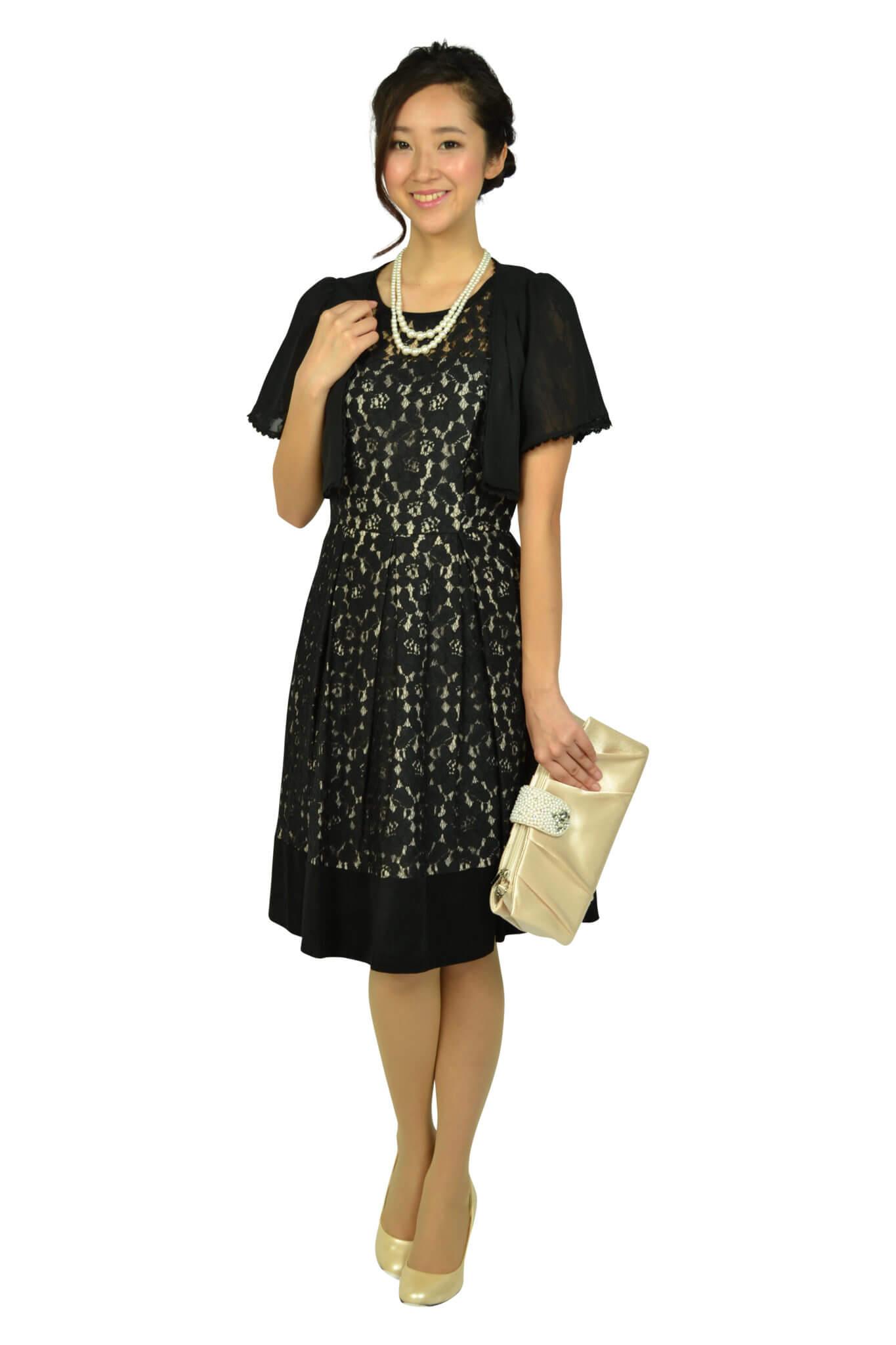 カルバンクライン (Calvin Klein)ブラックフラワーレースドレス