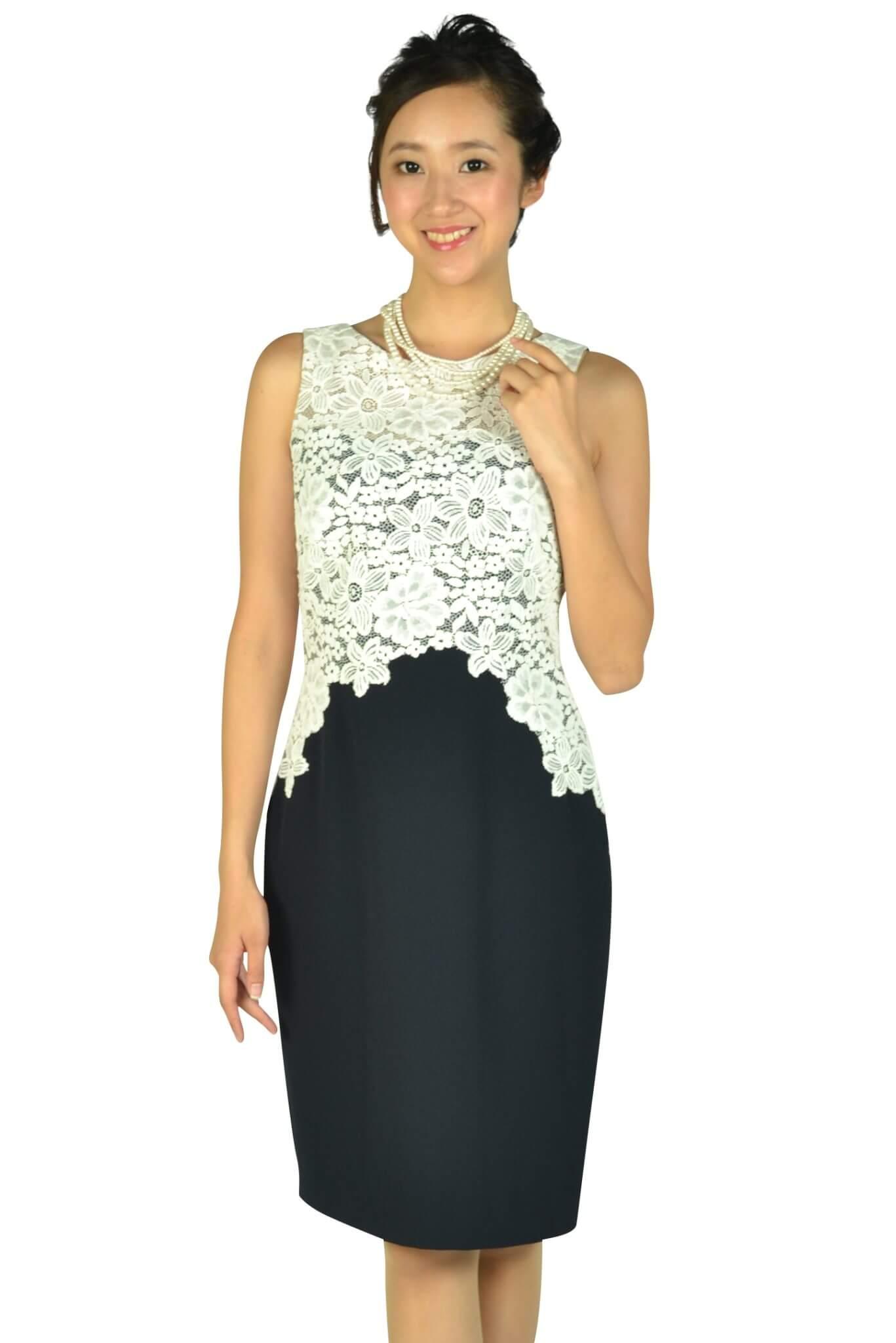 ローレンラルフローレン (LAUREN RALPH LAUREN)Iラインレースホワイト×ネイビードレス