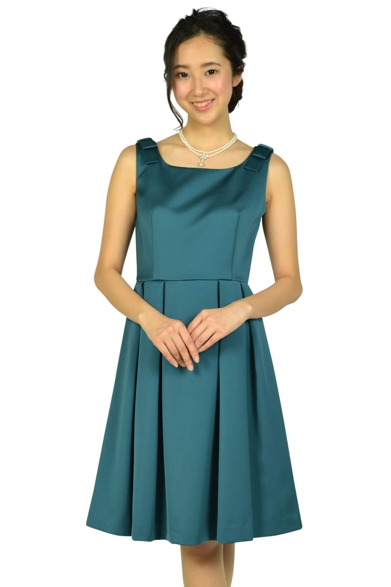 クミキョクプリエ (組曲プリエ)ショルダーリボングリーンドレス