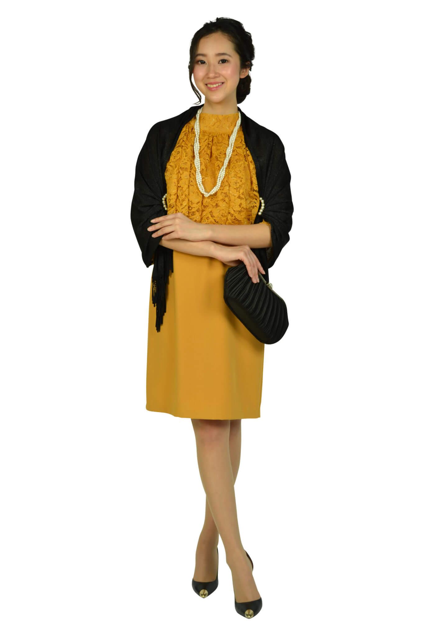 カレン (Karen)レースケープマスタードドレス