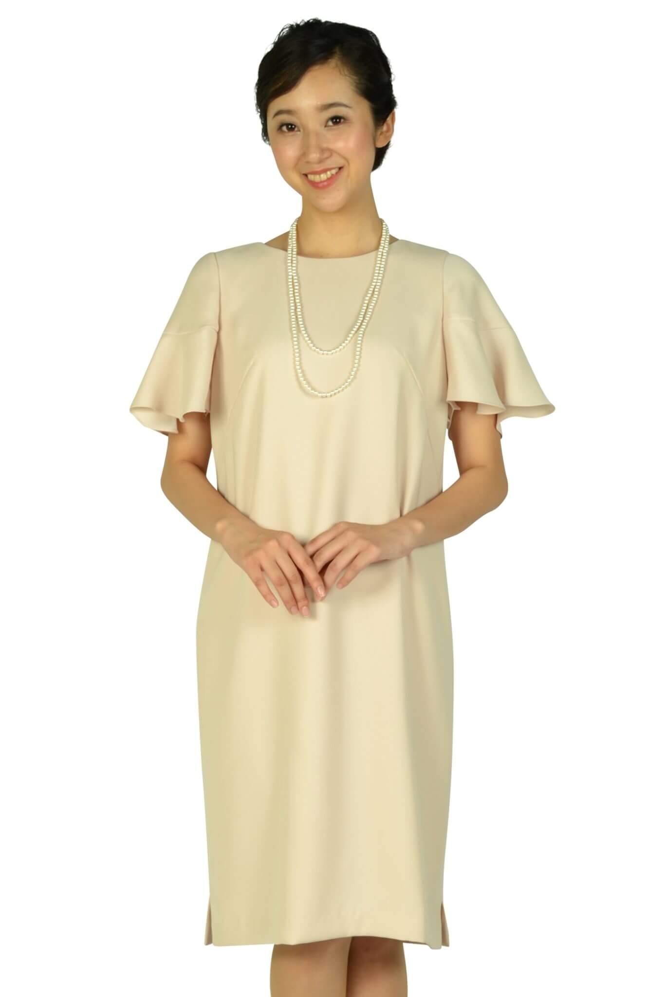 シーズ (She's)ベル袖ゆったりピンクドレス