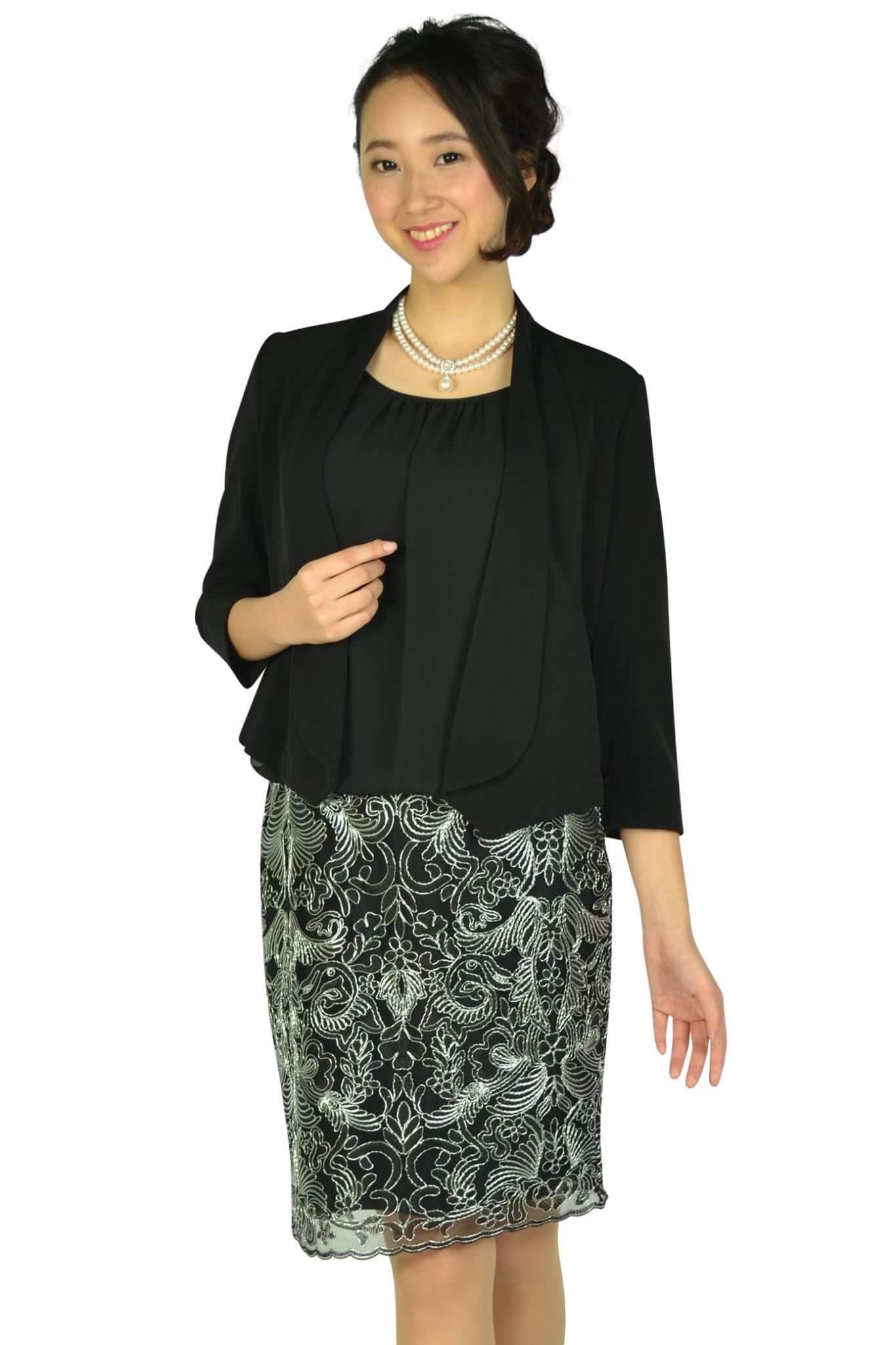 カルバンクライン (Calvin Klein)エレガント異素材Iラインブラックドレスセット