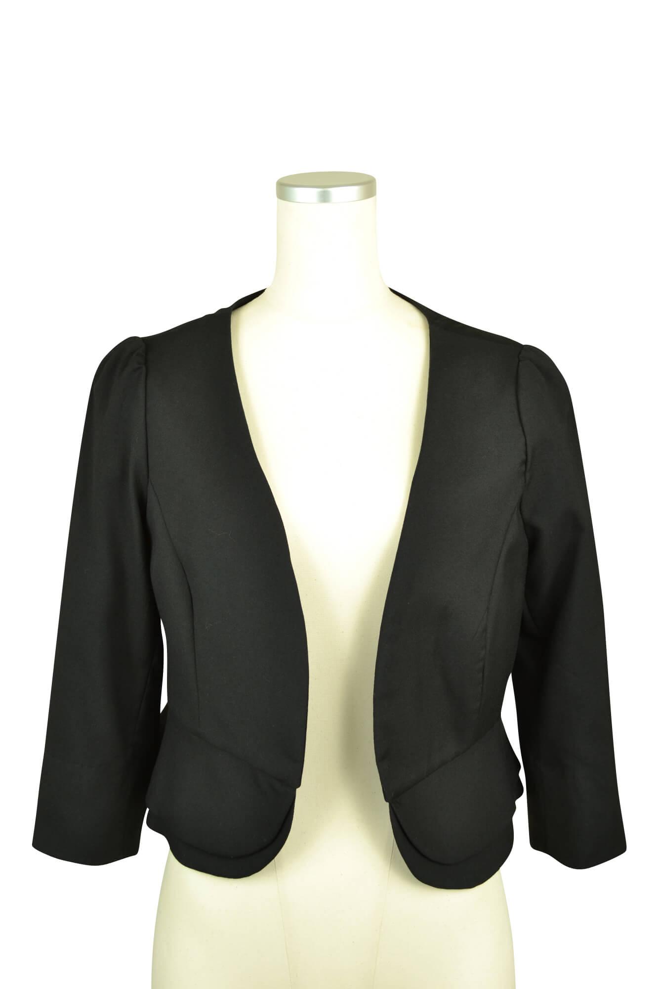 デリセノアール (DELLISE NOIR)ブラック7分袖ノーカラージャケット
