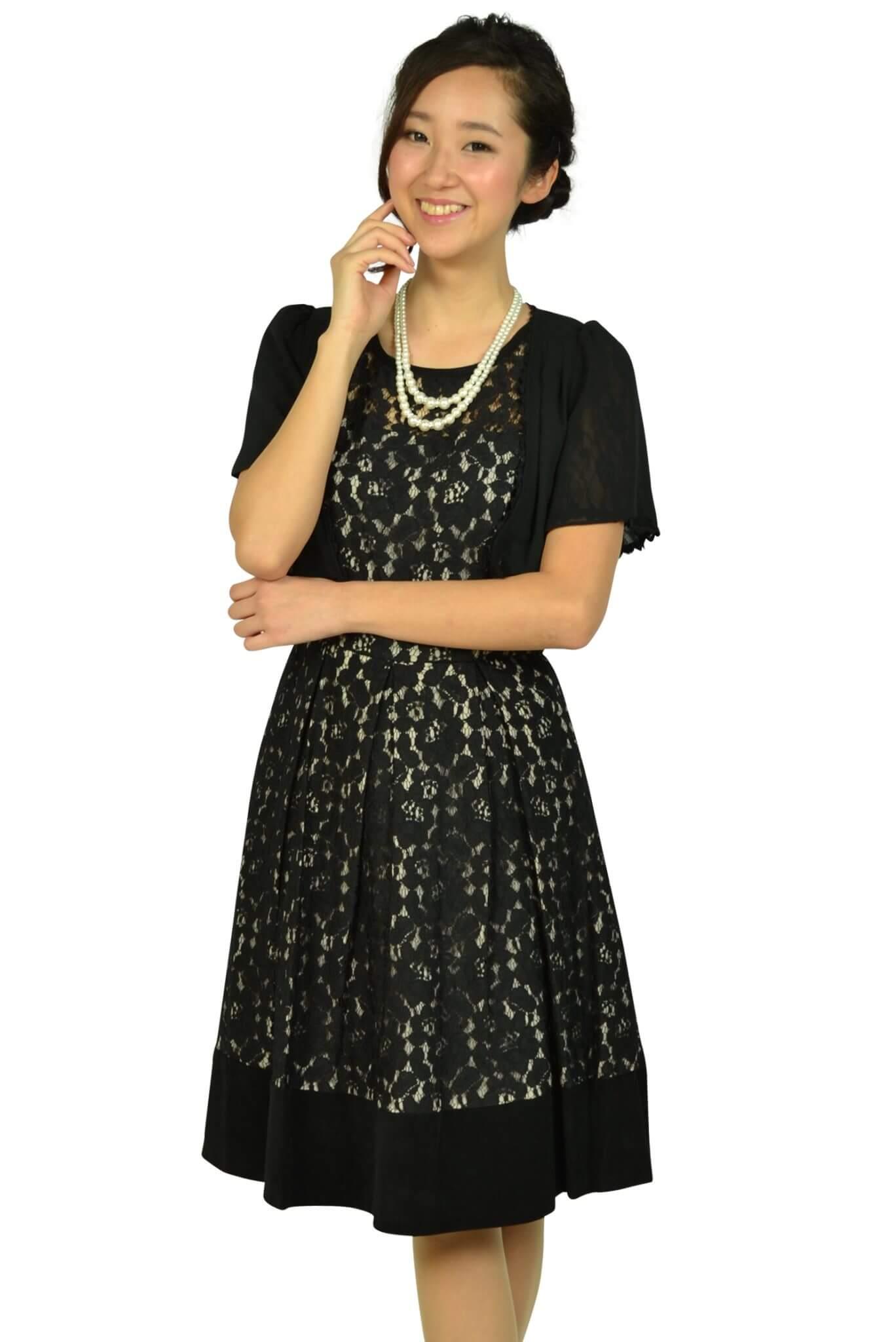 カルバンクライン (Calvin Klein)ブラックフラワーレースドレスセット