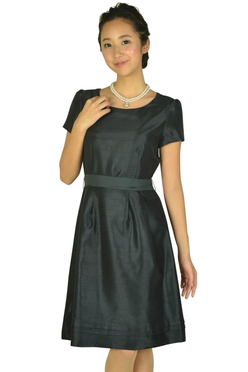 イノウェーブ (innowave)半袖シンプルシャンタンネイビードレス