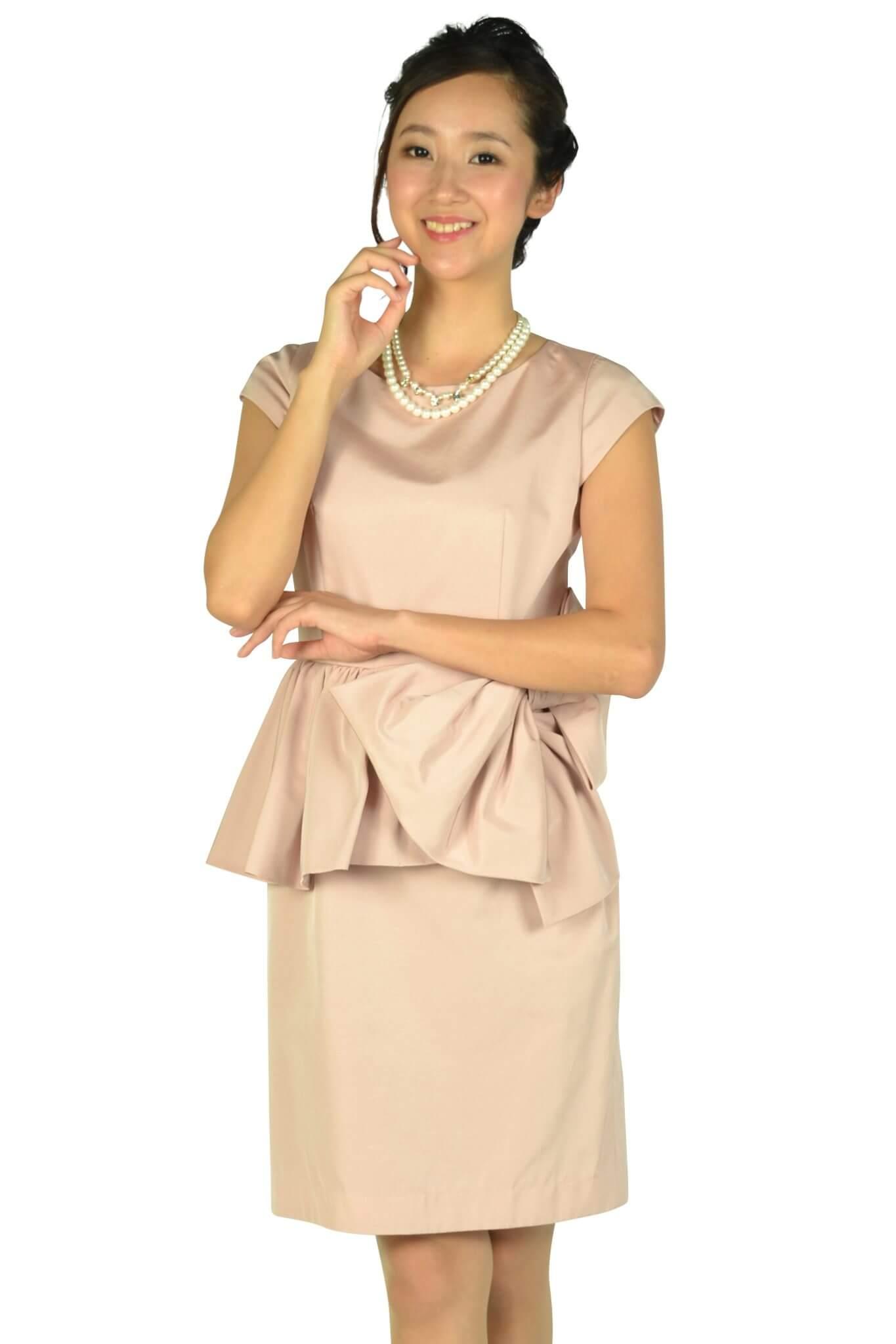ジャスグリッティー (JUSGLITTY)ウェストフリル&リボンピンクドレス