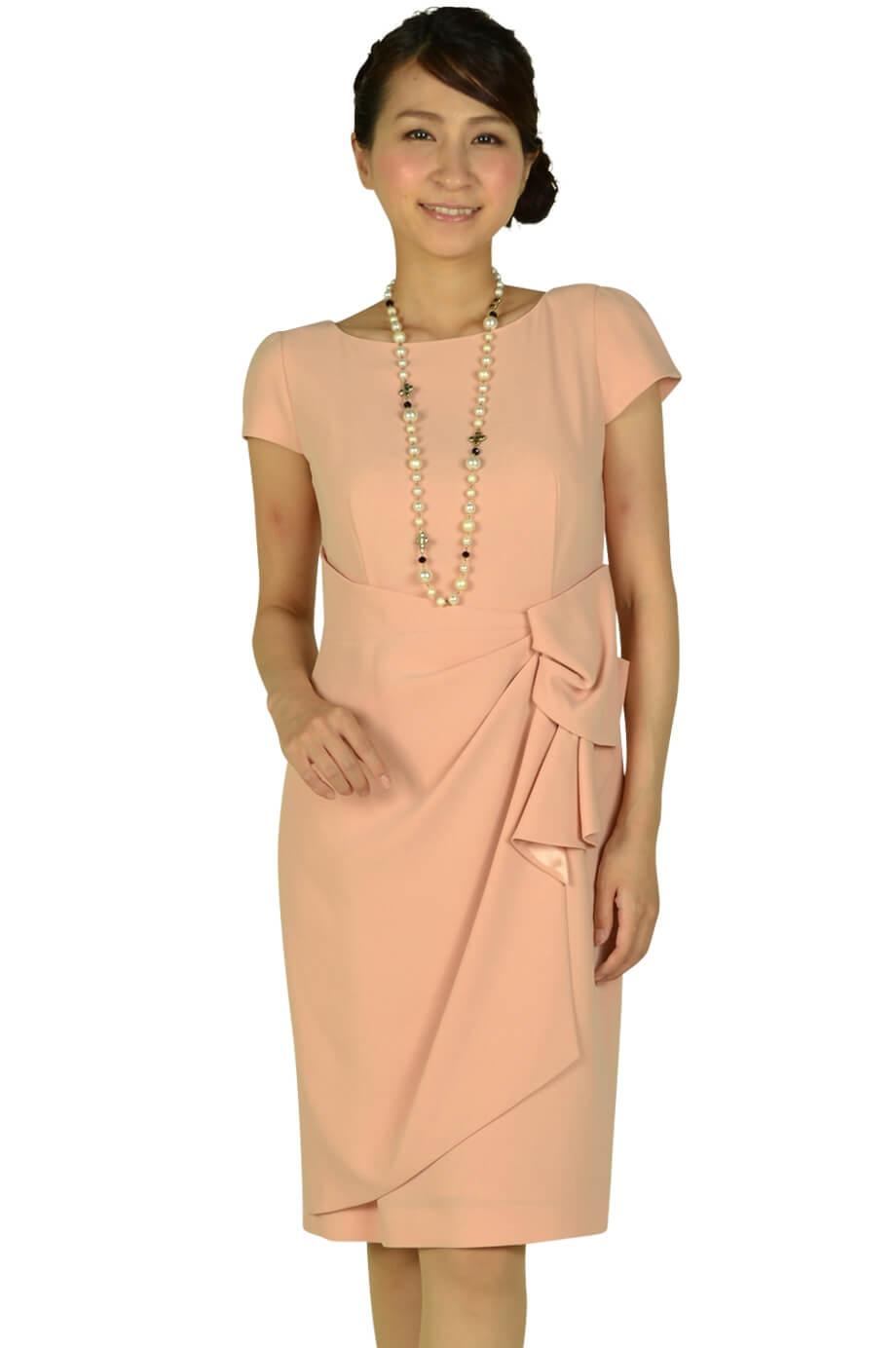 ジャスグリッティー (JUSGLITTY)タック付シンプルピンクドレス