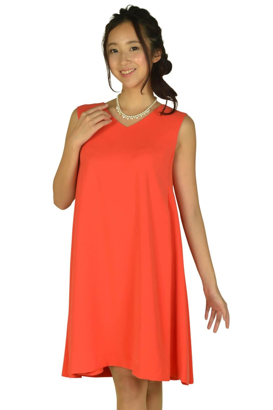 ストロベリーフィールズ (STRAWBERRY-FIELDS)VネックAラインオレンジドレス