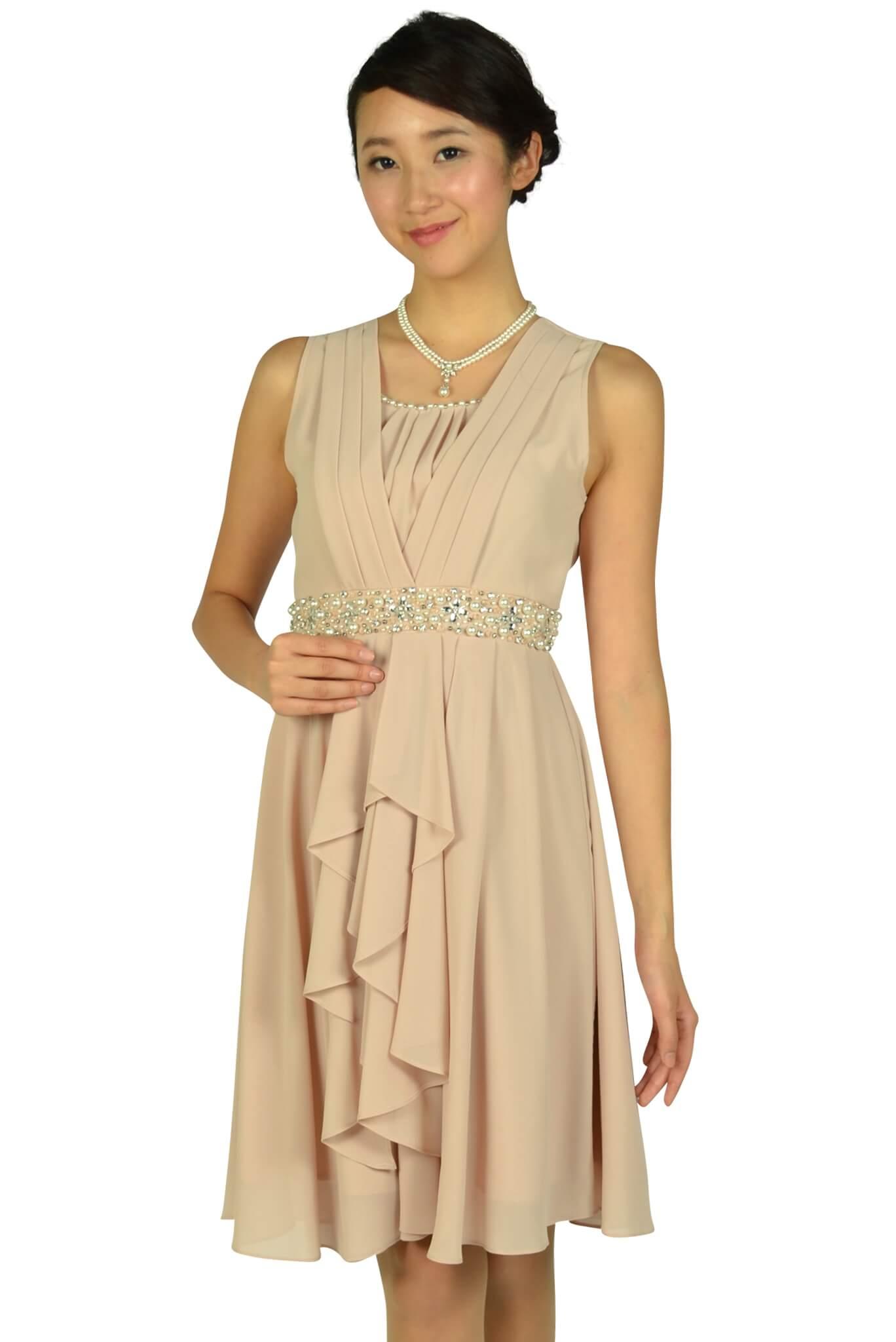 エルモソ (Hermoso)ウェストビジュシフォンピンクドレス
